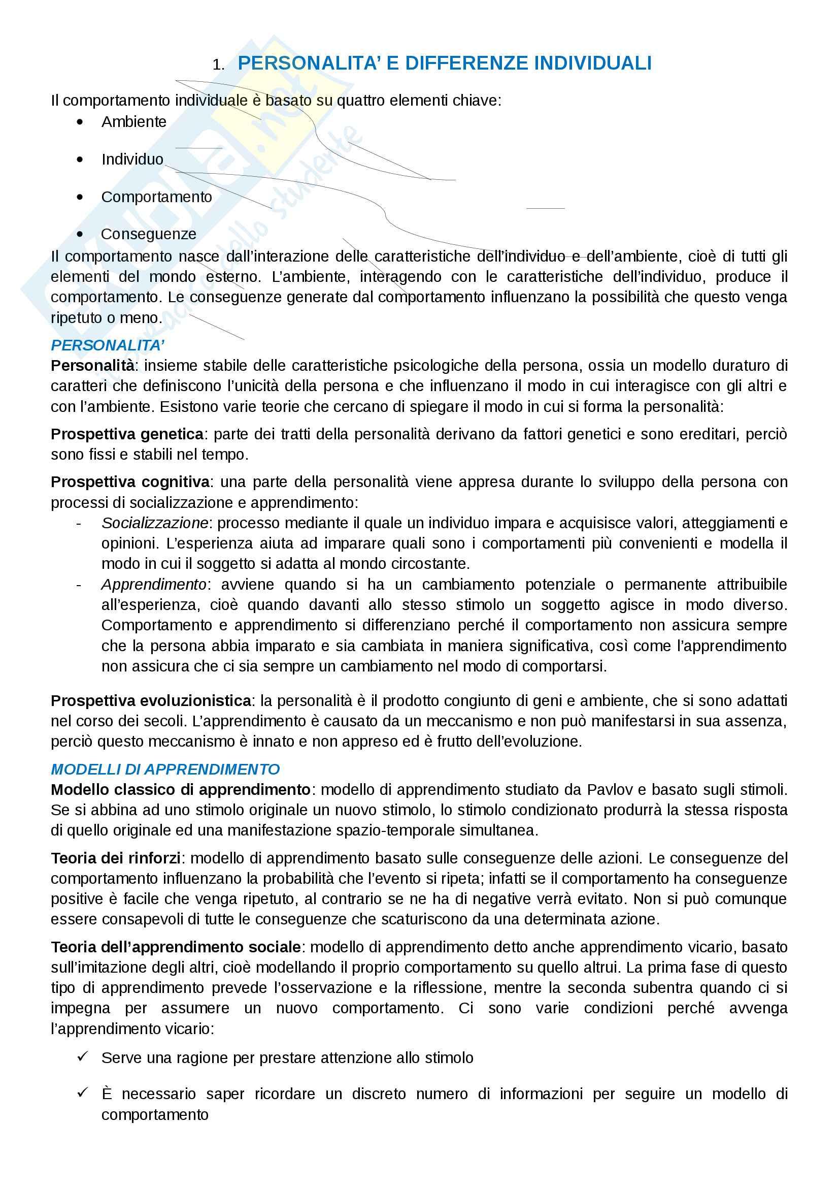 """Riassunto esame organizzazione aziendale, prof. Morandin, libro consigliato """"Comportamento organizzativo"""" di Tosi e Pilati (1°parziale)"""