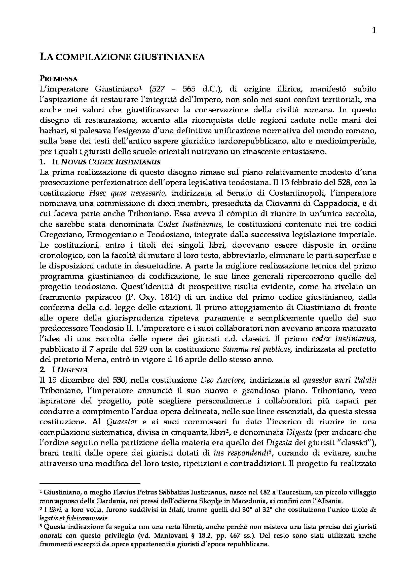 Storia del diritto romano - la Compilazione giustinianea