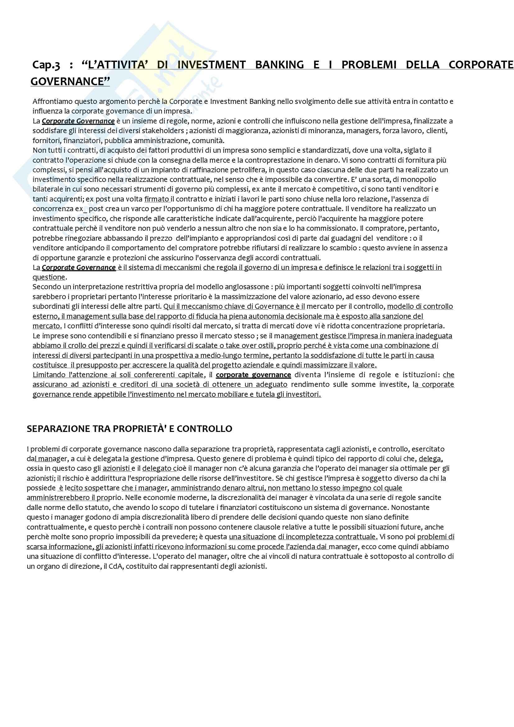 Riassunto esame Economia degli Intermediari Finanziari, prof. Moro, libro consigliato Corporate e Investment Banking di Forestieri Pag. 6