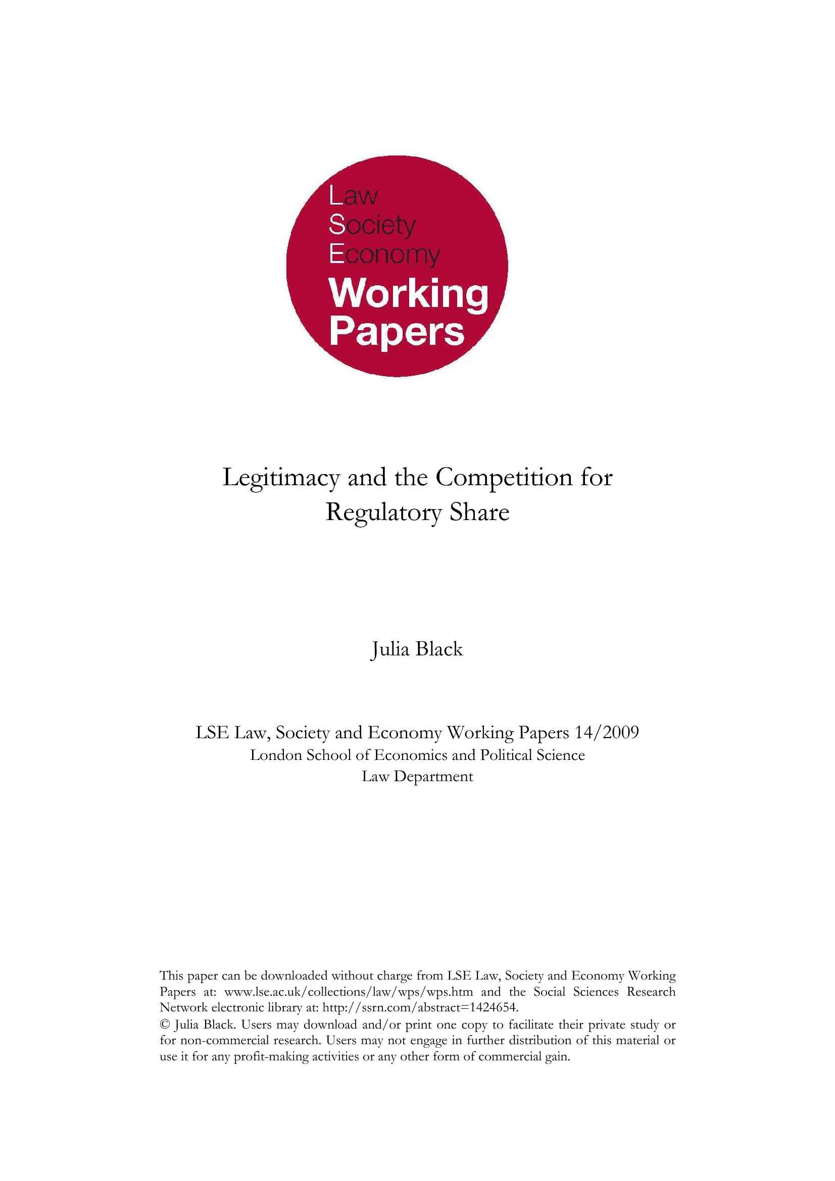 Legitimacy and the Competition for Regulatory Share - J. Black