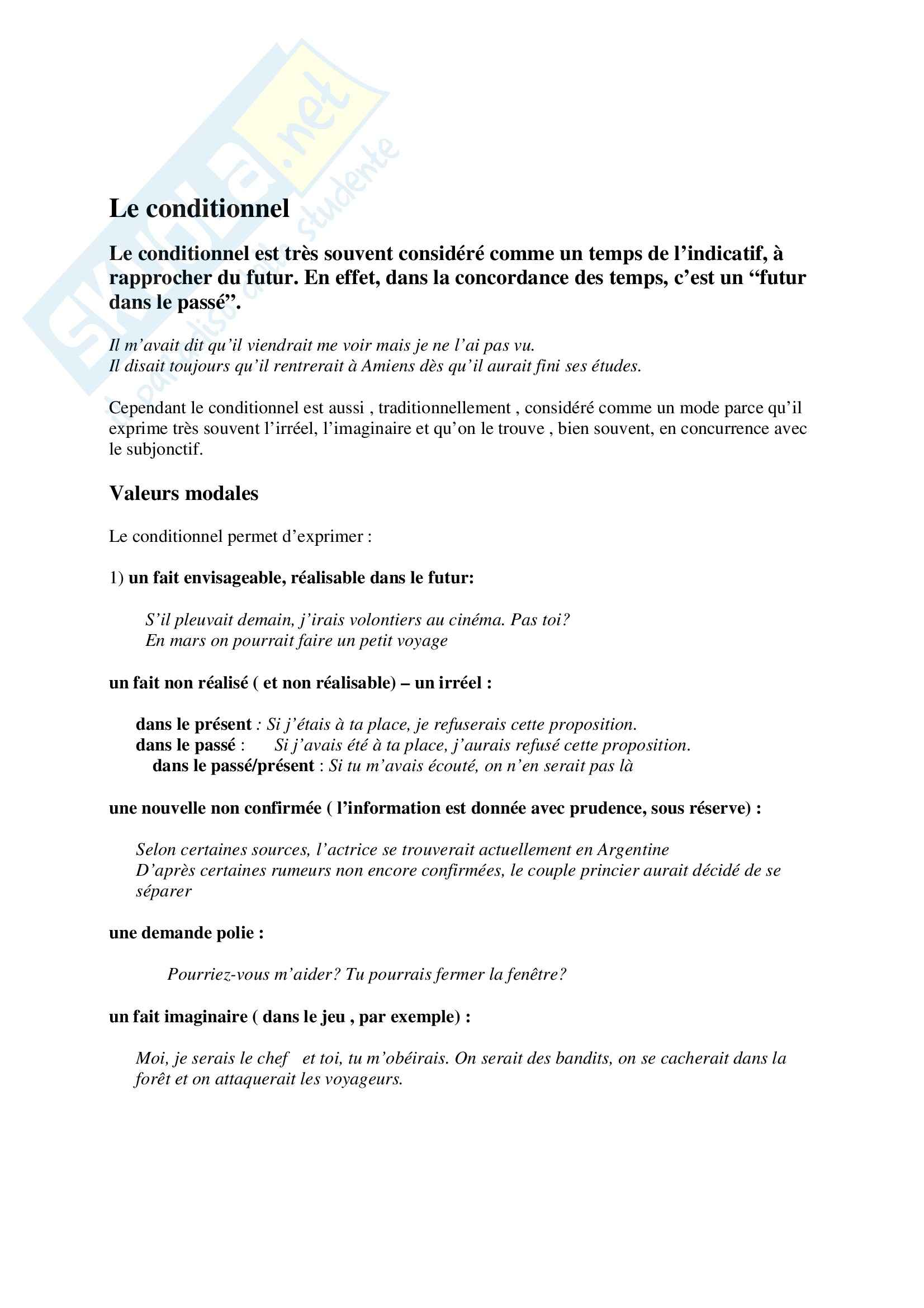 Le conditionnel Pag. 1