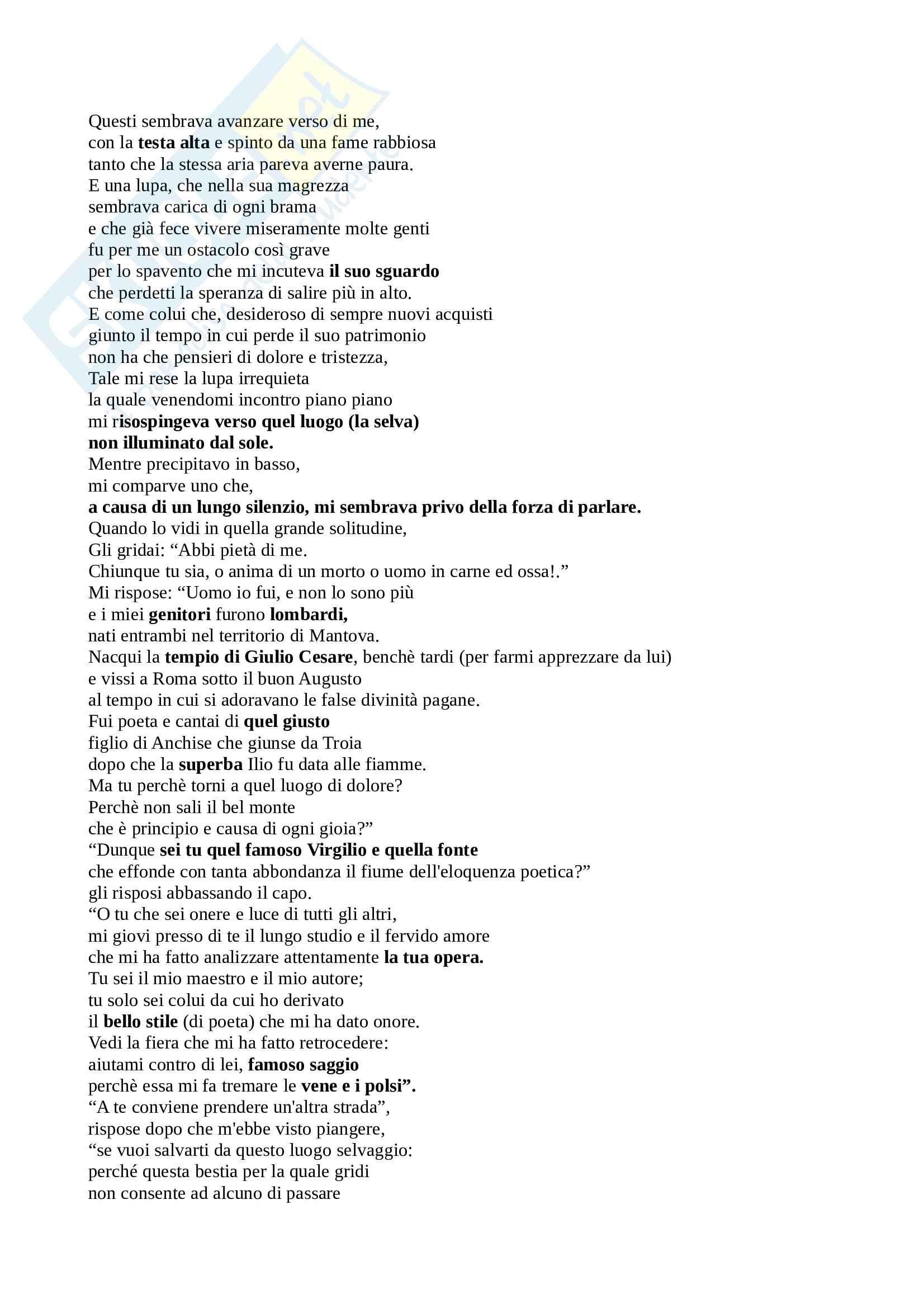 Parafrasi + Commento del I canto dell'inferno della Divina Commedia, per esame di Introduzione a Dante del docente Bellomo Saverio Pag. 2