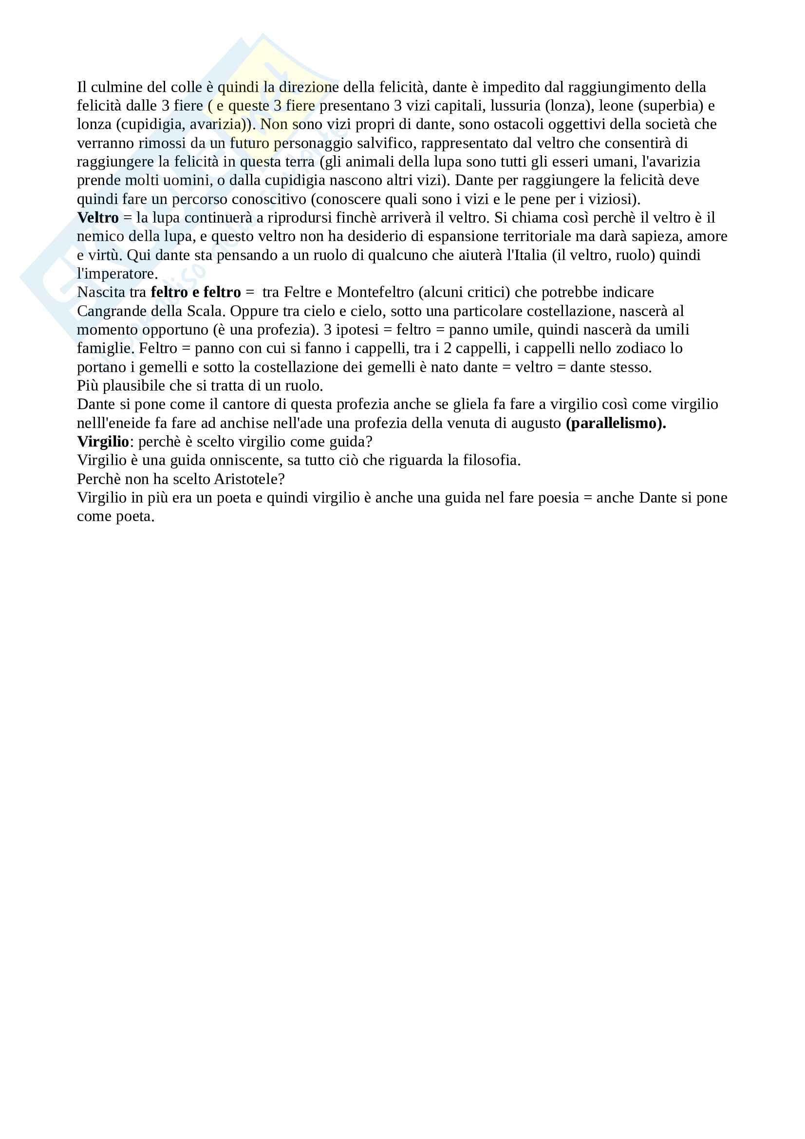 Parafrasi + Commento del I canto dell'inferno della Divina Commedia, per esame di Introduzione a Dante del docente Bellomo Saverio Pag. 6