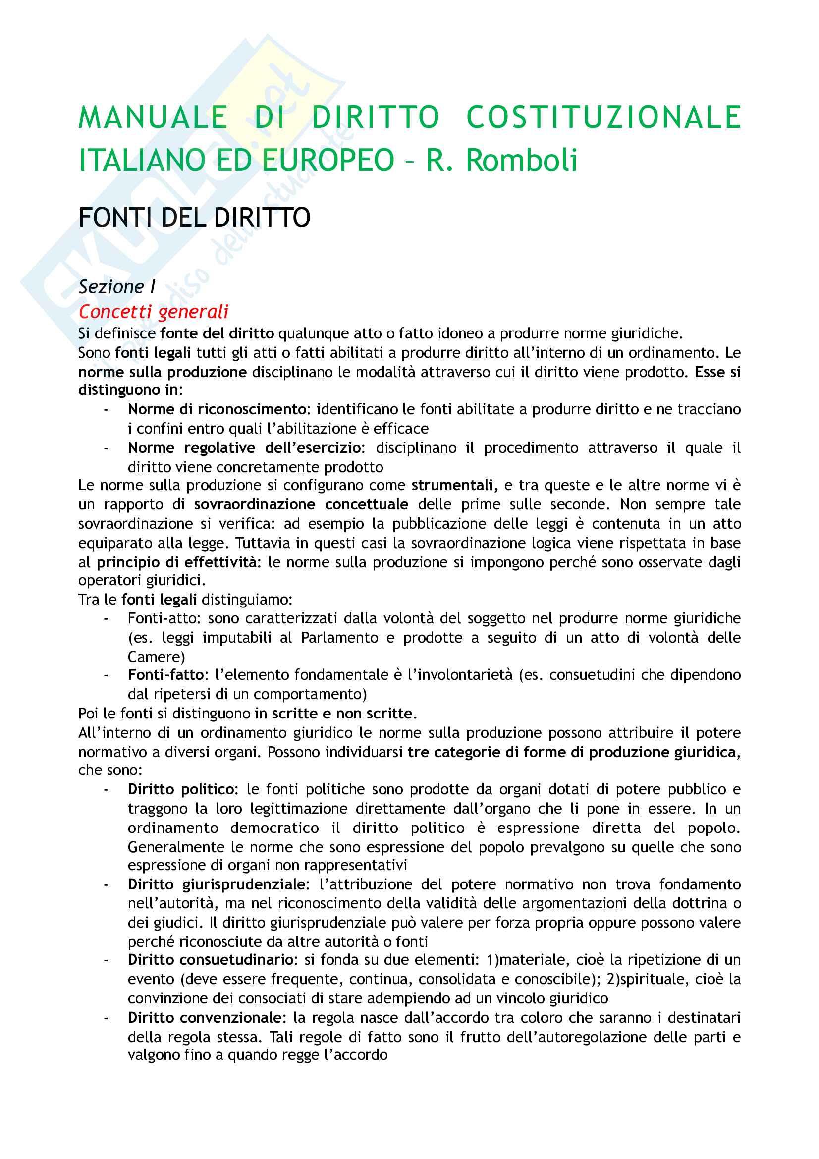 Riassunto esame Diritto costituzionale, prof. Tartaglia Polcini, libro consigliato Manuale di diritto costituzionale italiano ed europeo, Romboli