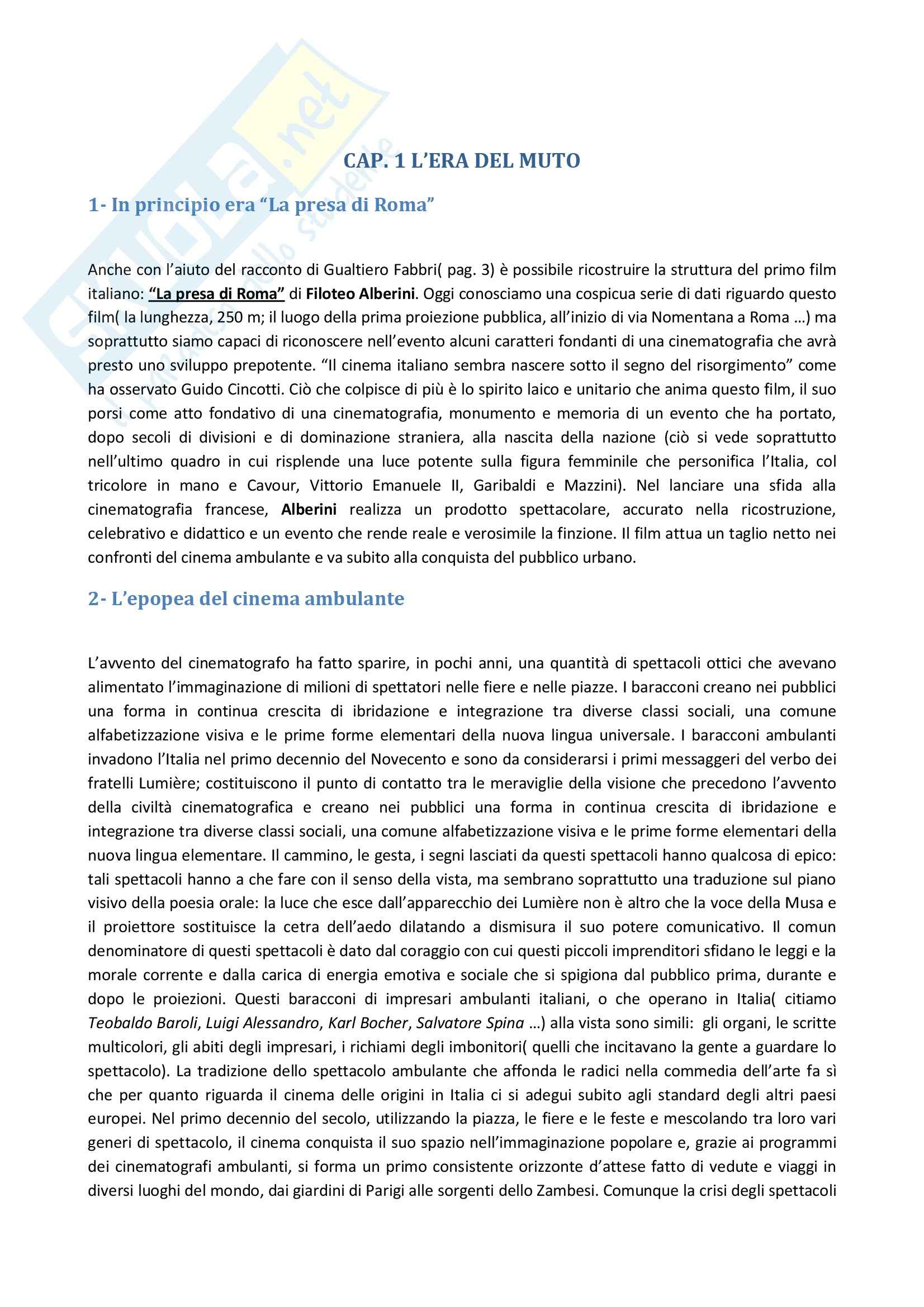 Riassunto esame Storia del Cinema Italiano, prof. Altieri, libro consigliato Storia del Cinema Italiano, Brunetta