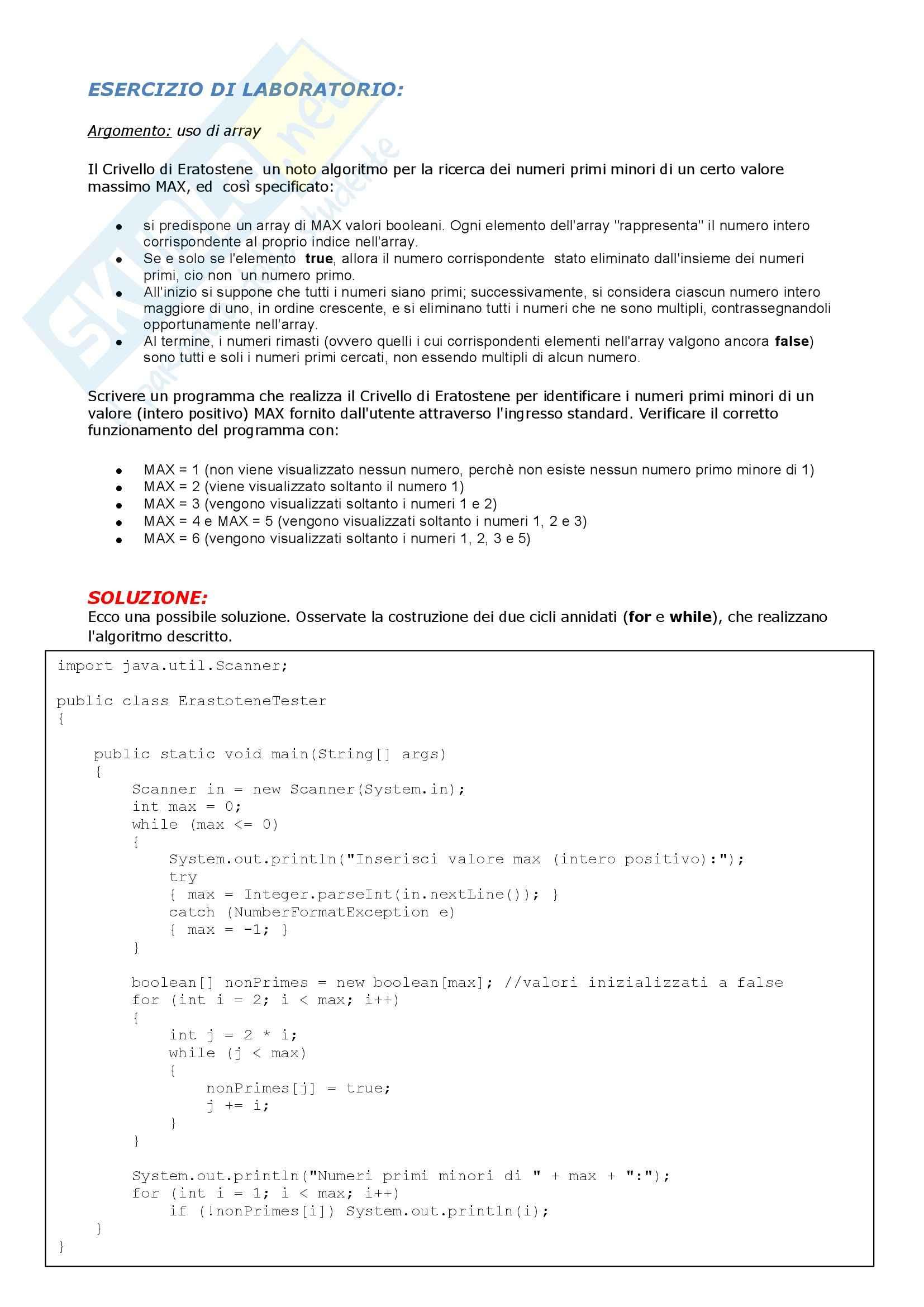 Informatica I - Esercizi uso di array