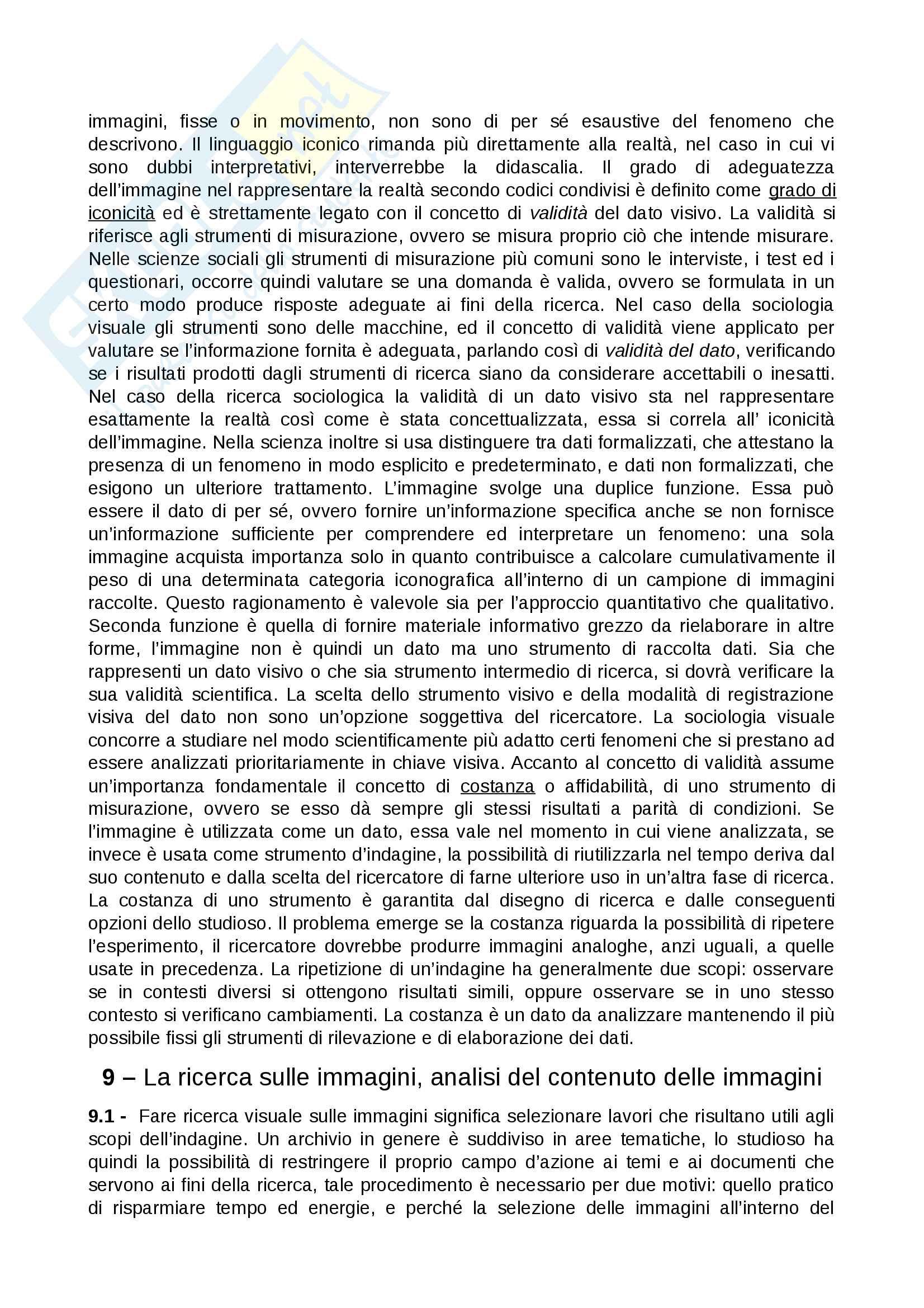 Riassunto esame Sociologia dei processi culturali, prof. Mattioli, libro consigliato La sociologia visuale, che cos'è e come si fa, Mattioli Pag. 16