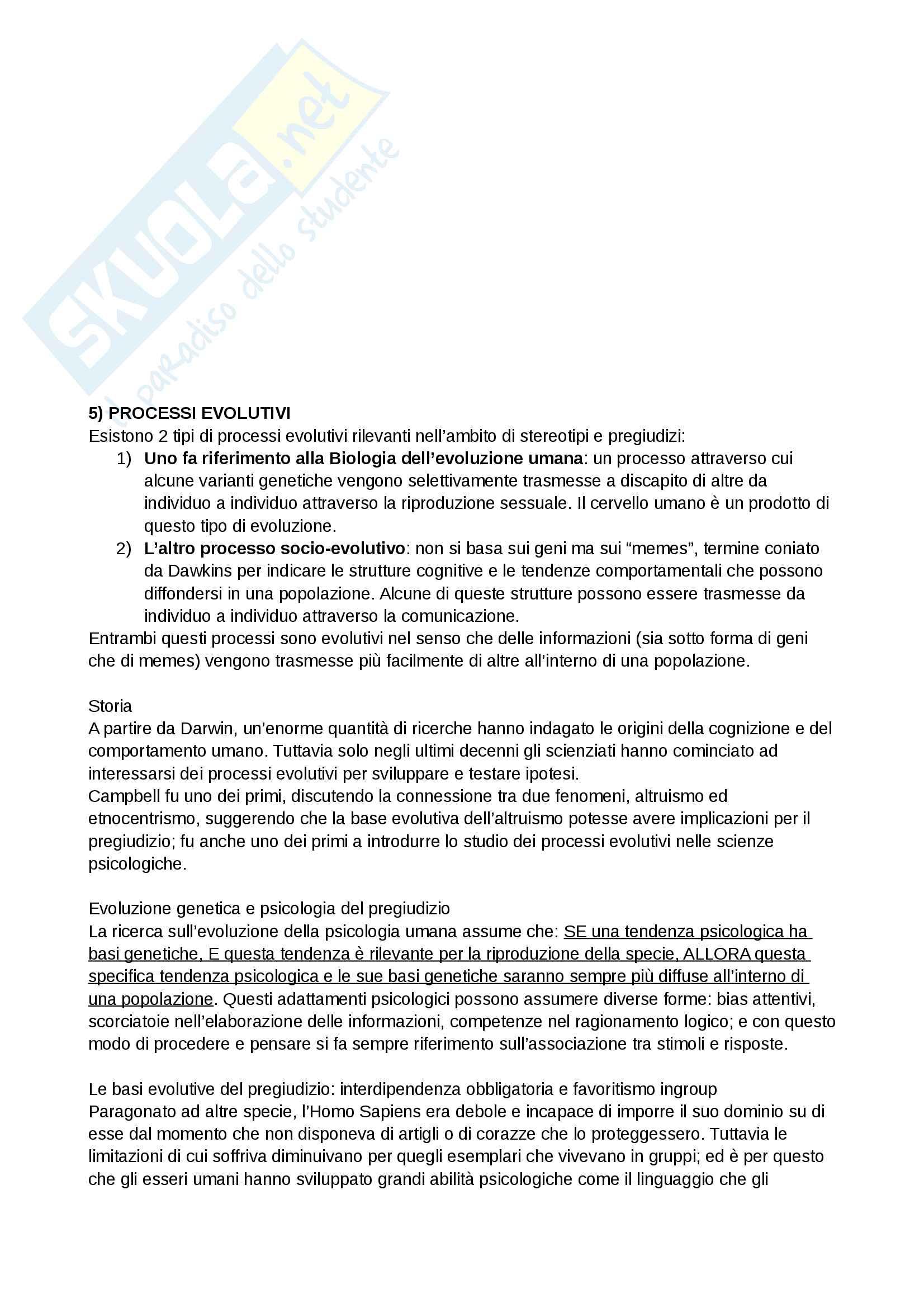 Riassunto esame e Appunti completi di Psicologia Sociale: corso avanzato per l'esame della Prof. Sacchi su Pregiudizio, Stereotipo, Discriminazione Bicocca Pag. 11