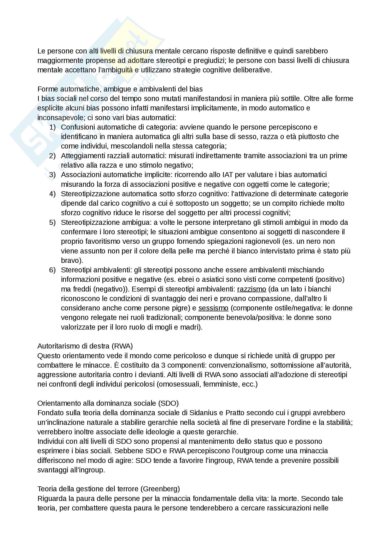 Riassunto esame e Appunti completi di Psicologia Sociale: corso avanzato per l'esame della Prof. Sacchi su Pregiudizio, Stereotipo, Discriminazione Bicocca Pag. 16