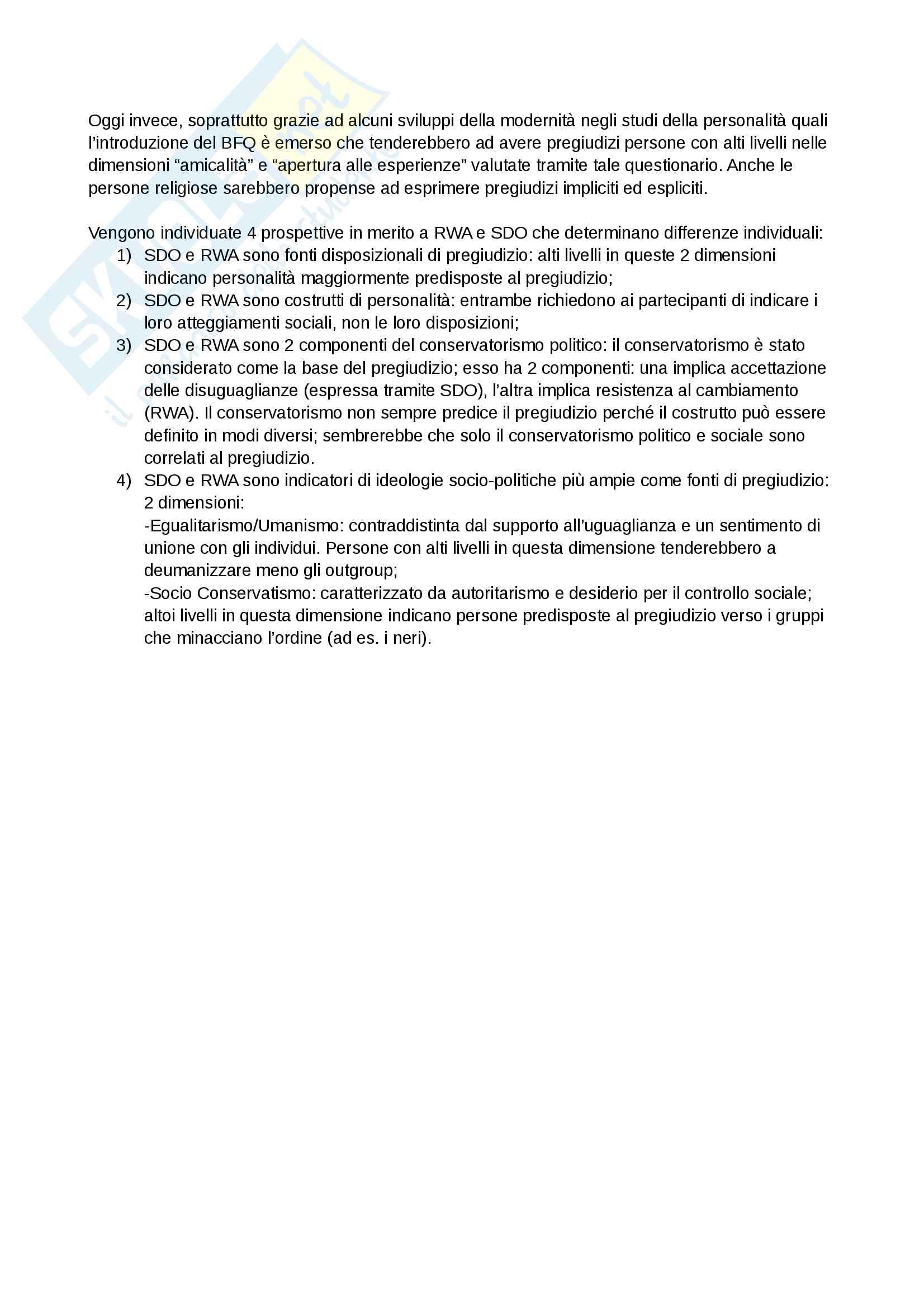 Riassunto esame e Appunti completi di Psicologia Sociale: corso avanzato per l'esame della Prof. Sacchi su Pregiudizio, Stereotipo, Discriminazione Bicocca Pag. 21