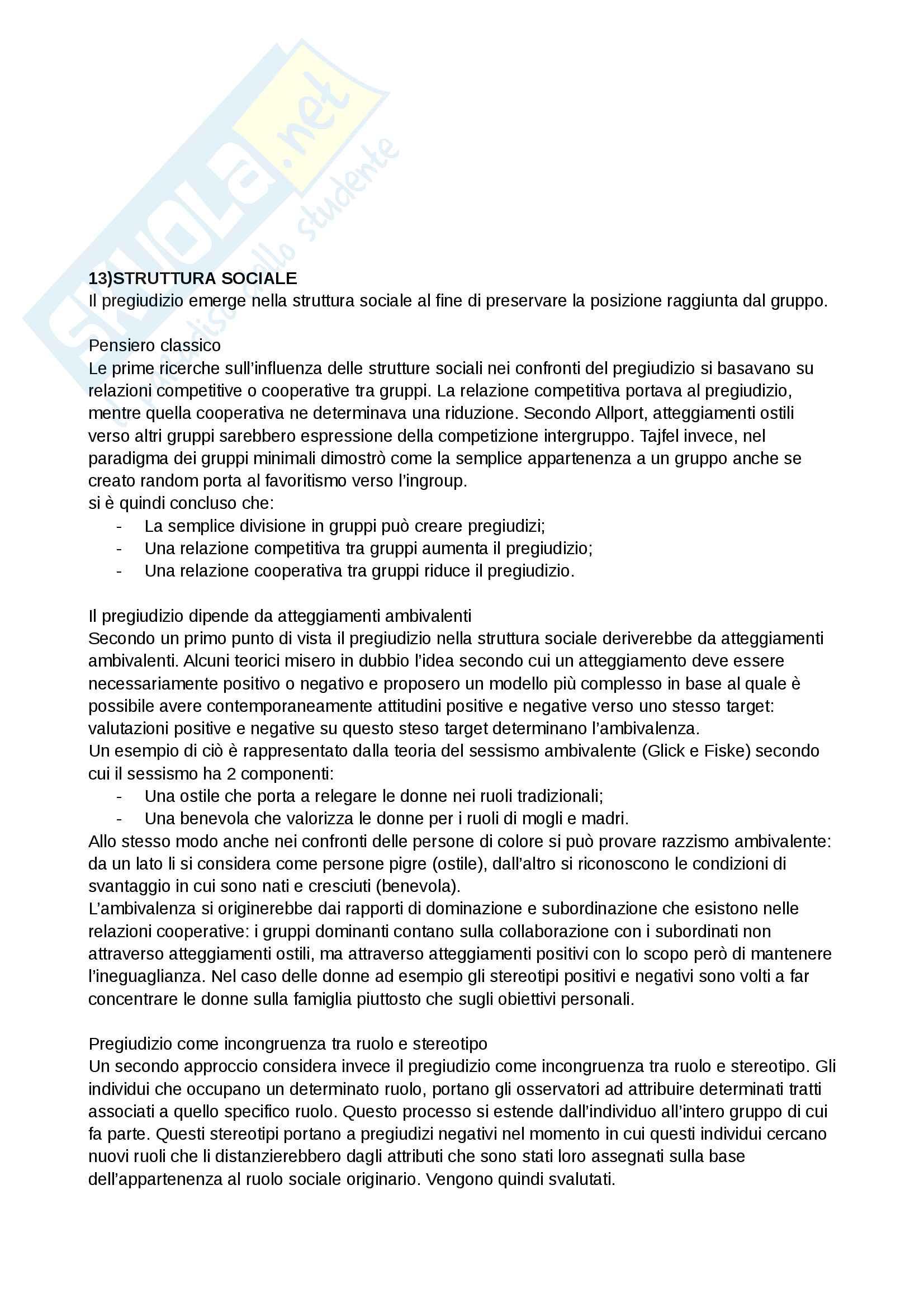 Riassunto esame e Appunti completi di Psicologia Sociale: corso avanzato per l'esame della Prof. Sacchi su Pregiudizio, Stereotipo, Discriminazione Bicocca Pag. 26