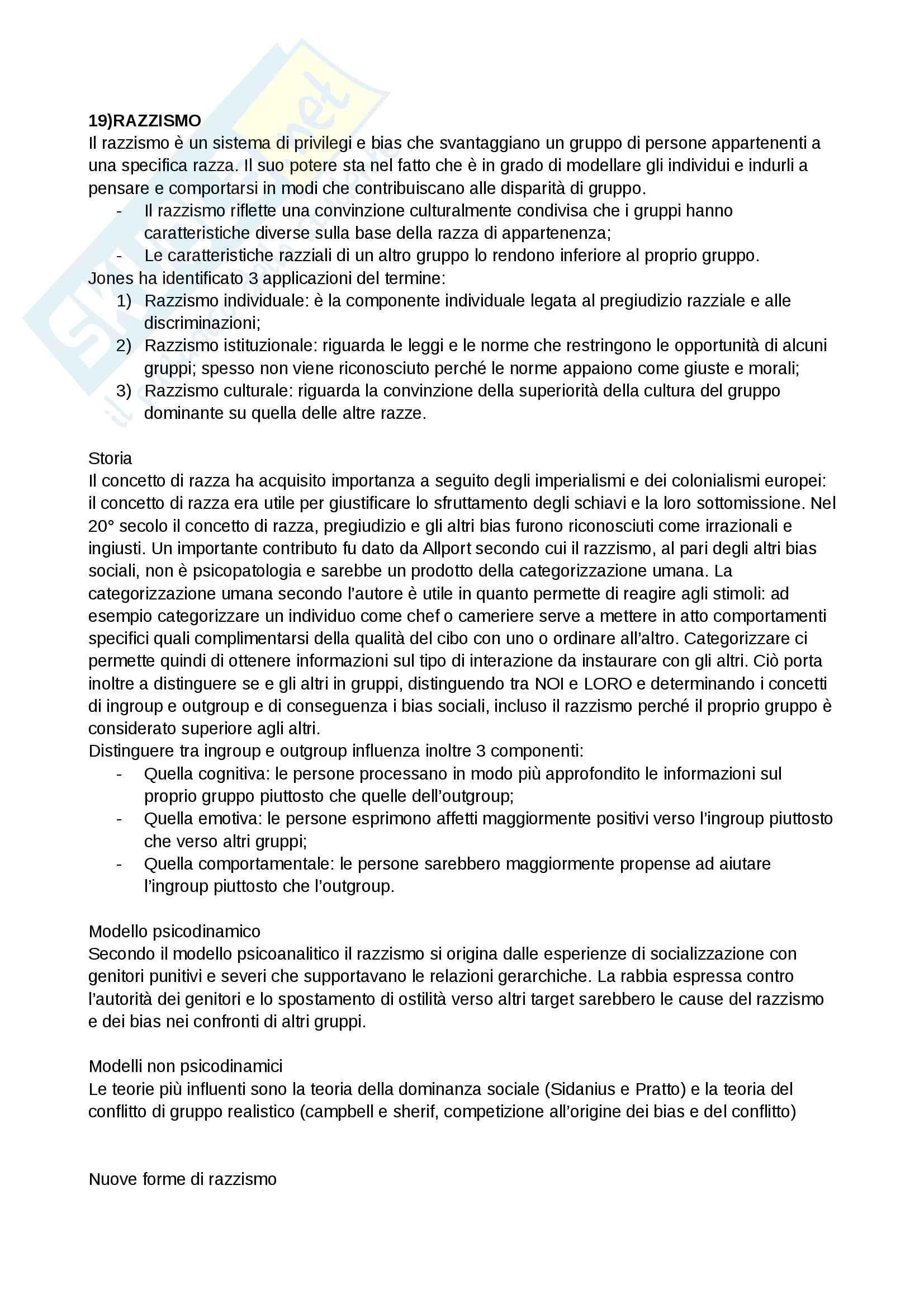 Riassunto esame e Appunti completi di Psicologia Sociale: corso avanzato per l'esame della Prof. Sacchi su Pregiudizio, Stereotipo, Discriminazione Bicocca Pag. 31