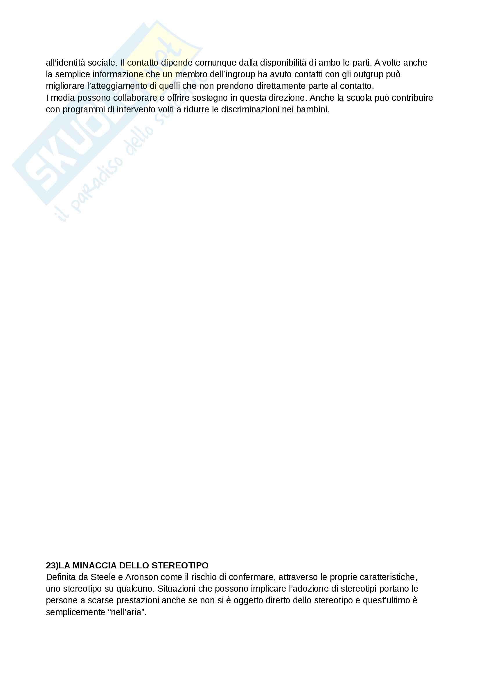 Riassunto esame e Appunti completi di Psicologia Sociale: corso avanzato per l'esame della Prof. Sacchi su Pregiudizio, Stereotipo, Discriminazione Bicocca Pag. 36