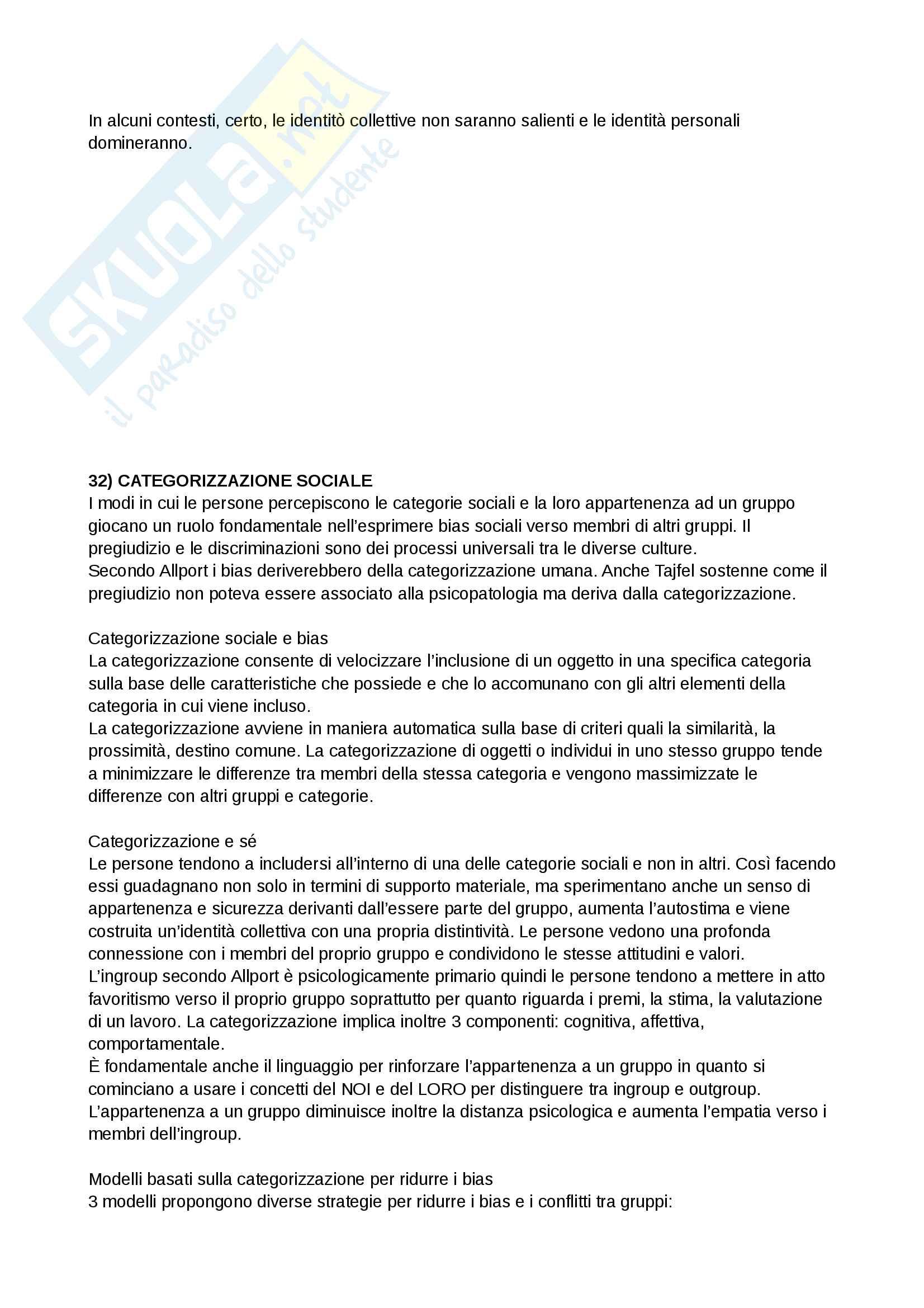 Riassunto esame e Appunti completi di Psicologia Sociale: corso avanzato per l'esame della Prof. Sacchi su Pregiudizio, Stereotipo, Discriminazione Bicocca Pag. 46