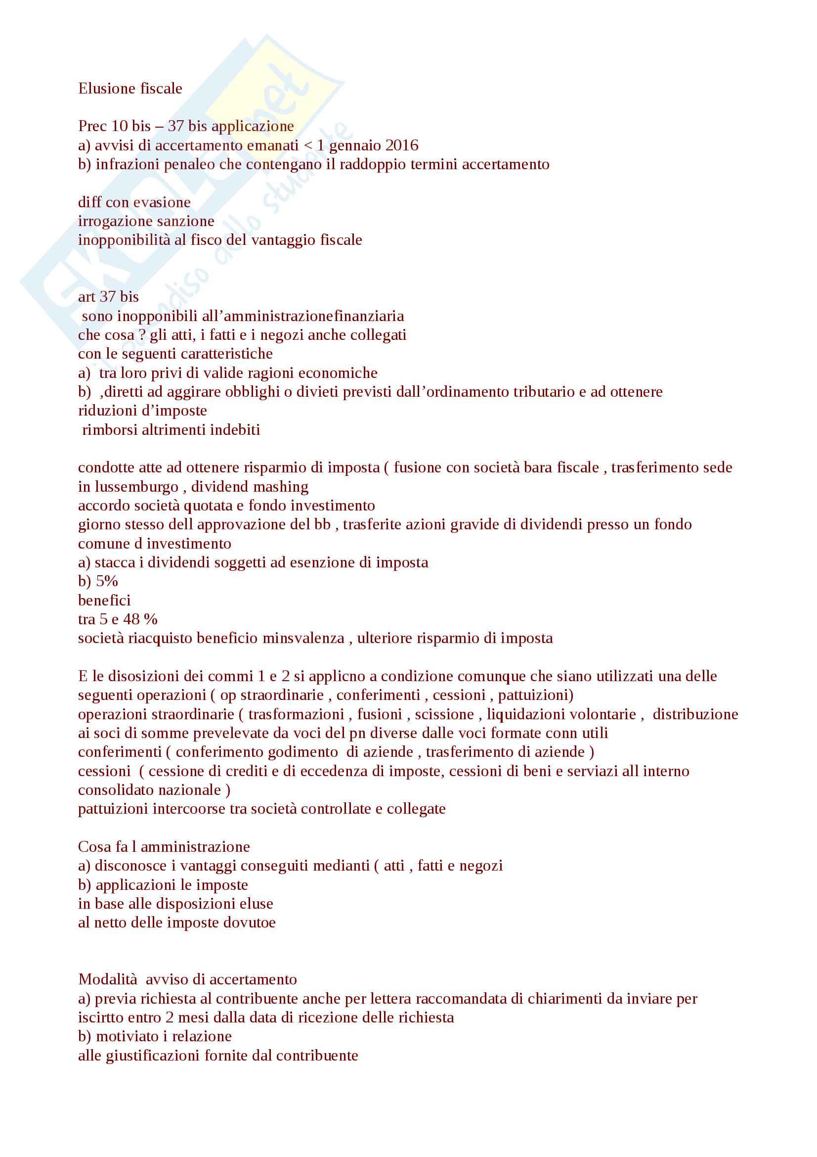 Appunti sintesi utilissima per esame diritto tributario proff.Selicato, Uricchio