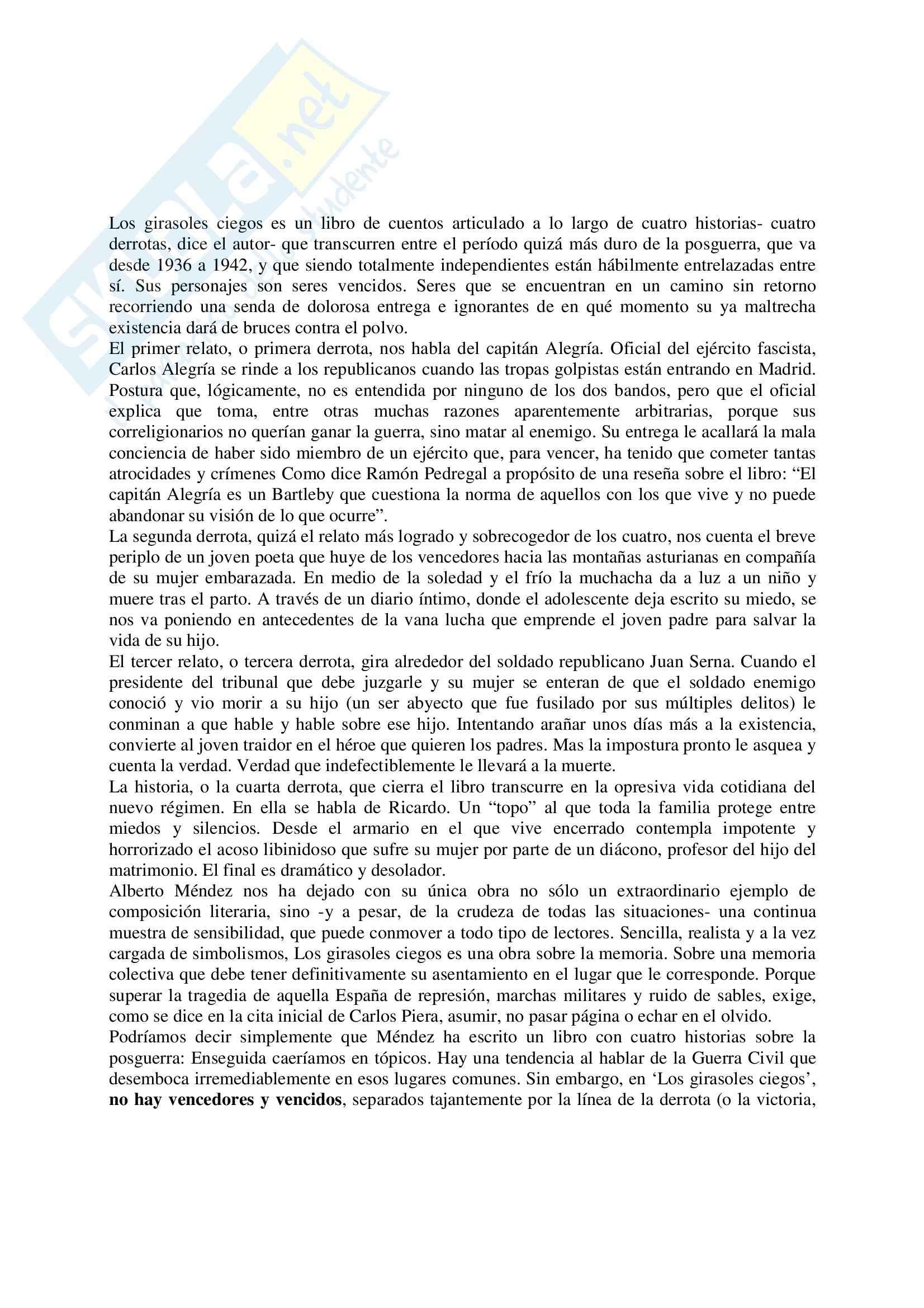Riassunto esame Lingua Spagnola, prof. Gomez, libro consigliato Los Girasoles Ciegos, Mèndez