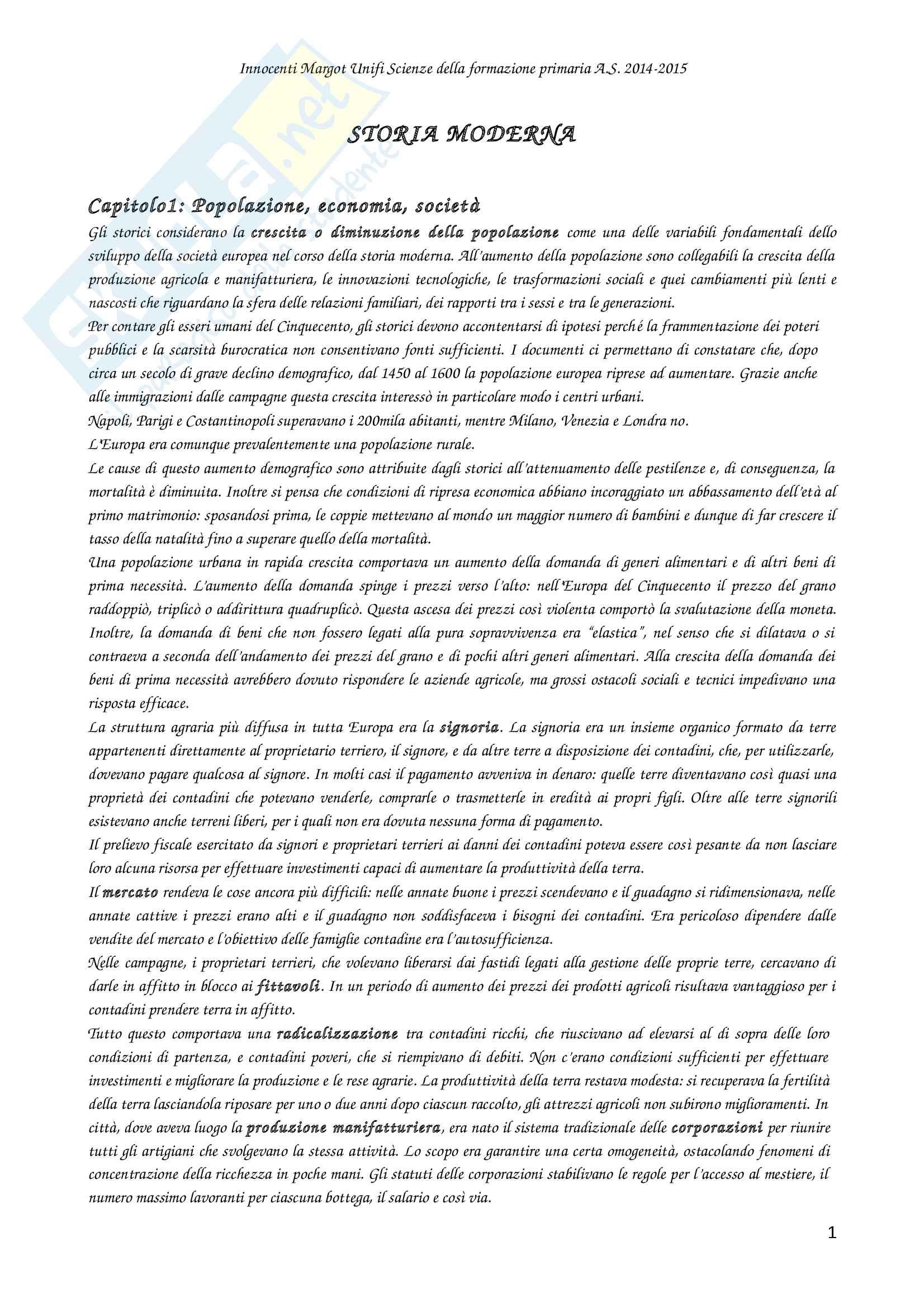 Riassunto per l'esame di Storia moderna, prof Maria Aurora Savelli, libro consigliato Storia moderna, Ago Renata, Vidotto Vittorio