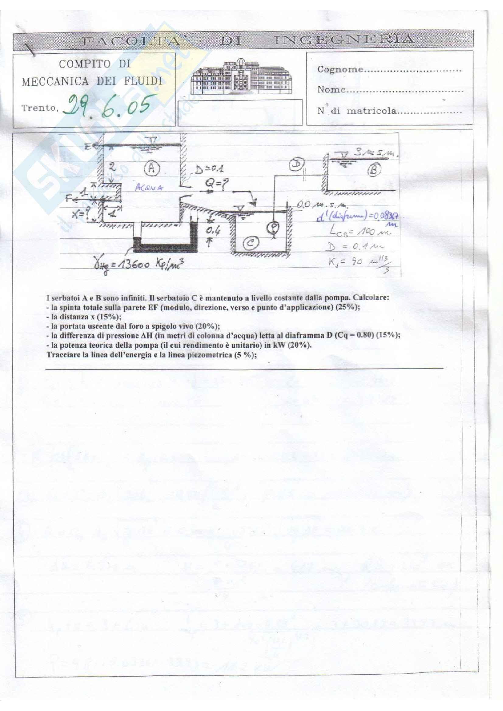 Meccanica dei fluidi - Compito 29/06/2005