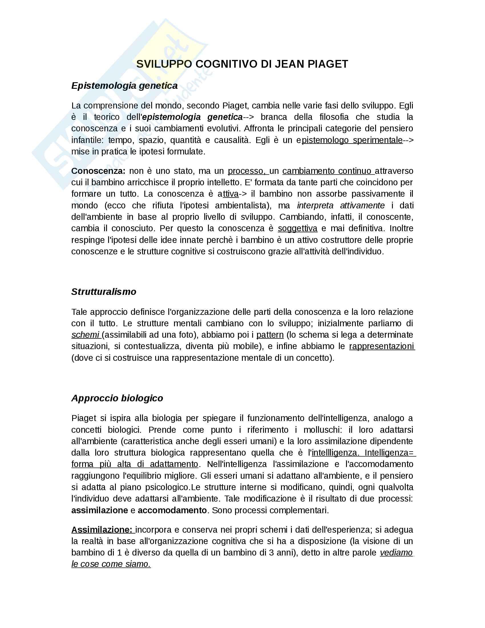 Piaget - Psicologia dello sviluppo