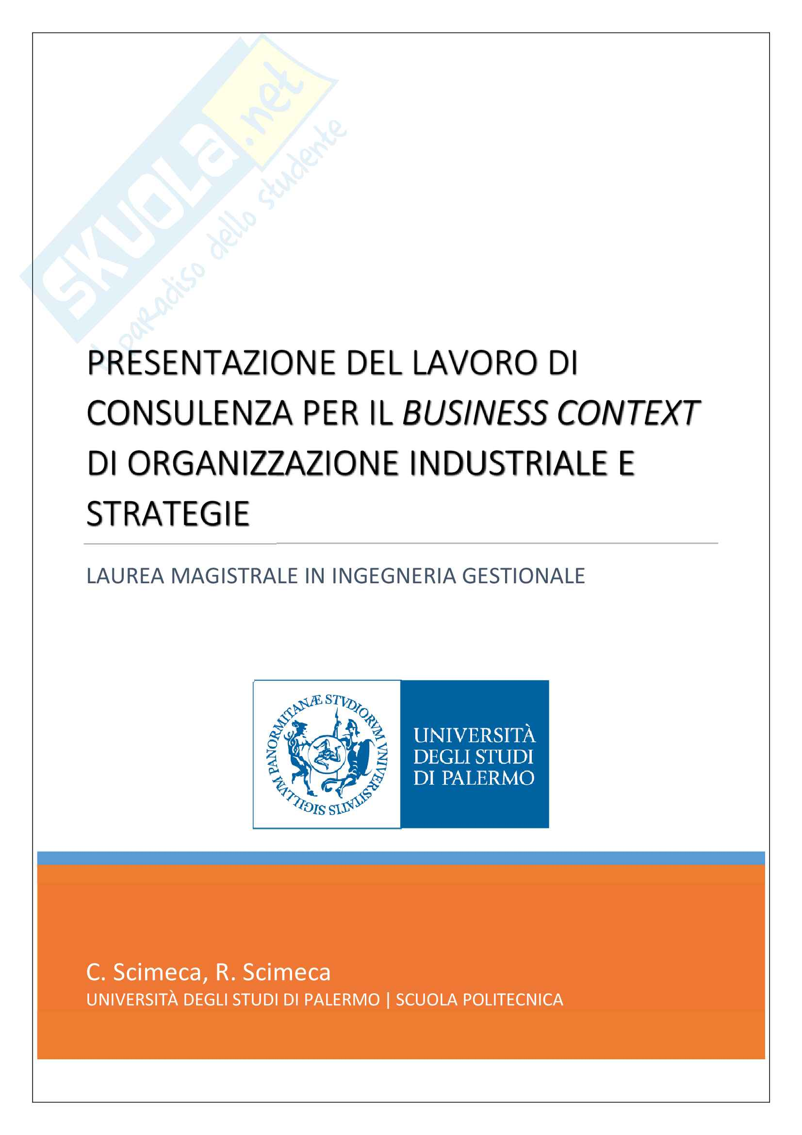 Presentazione lavoro di consulenza per azienda