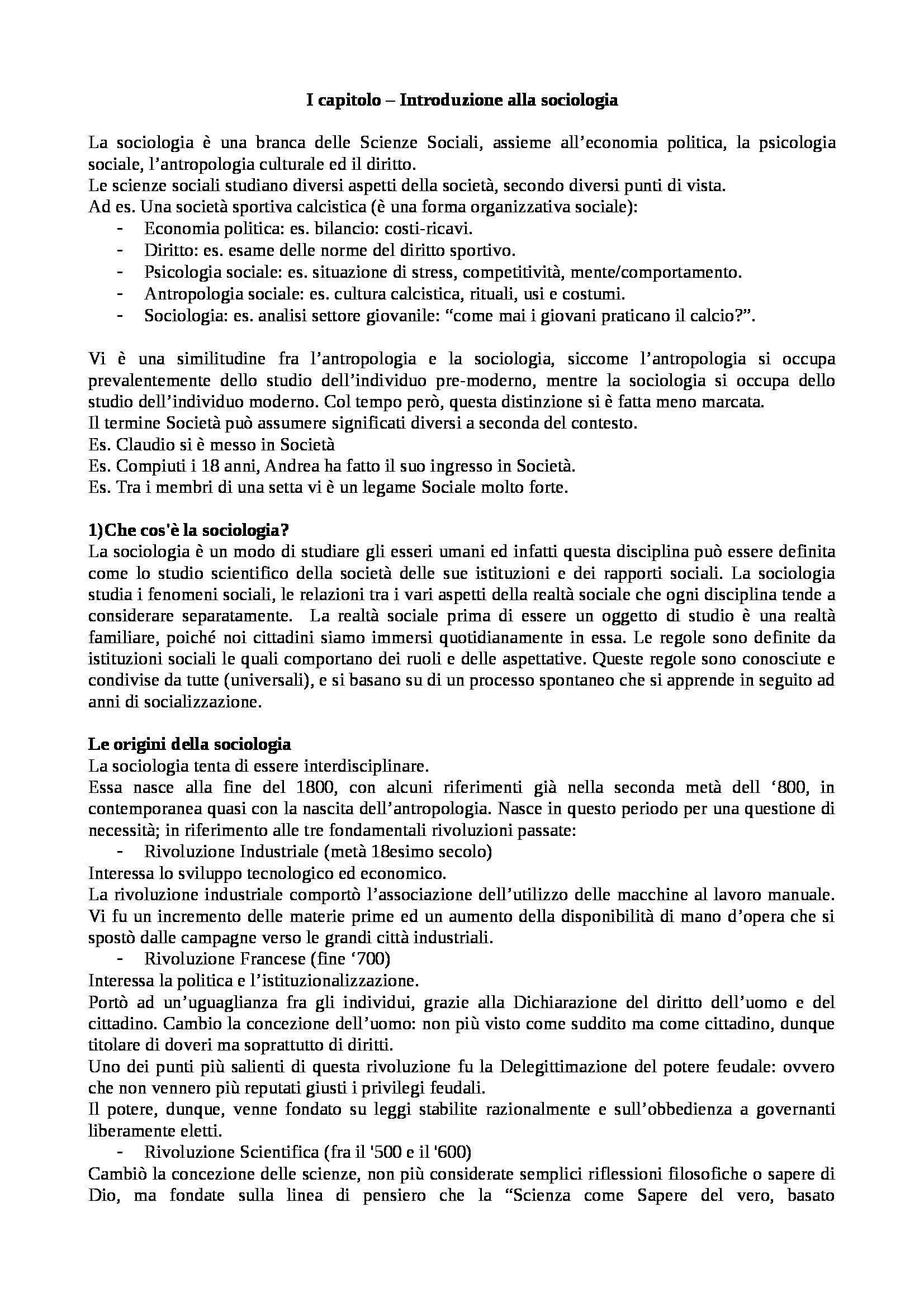 Riassunto esame sociologia, libro adottato Manuale di sociologia, Bologna, Smelser