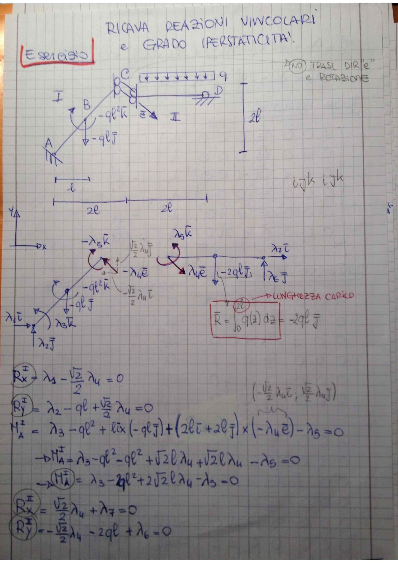 Meccanica dei solidi - esercizi su reazioni vincolari ed Iperstaticità