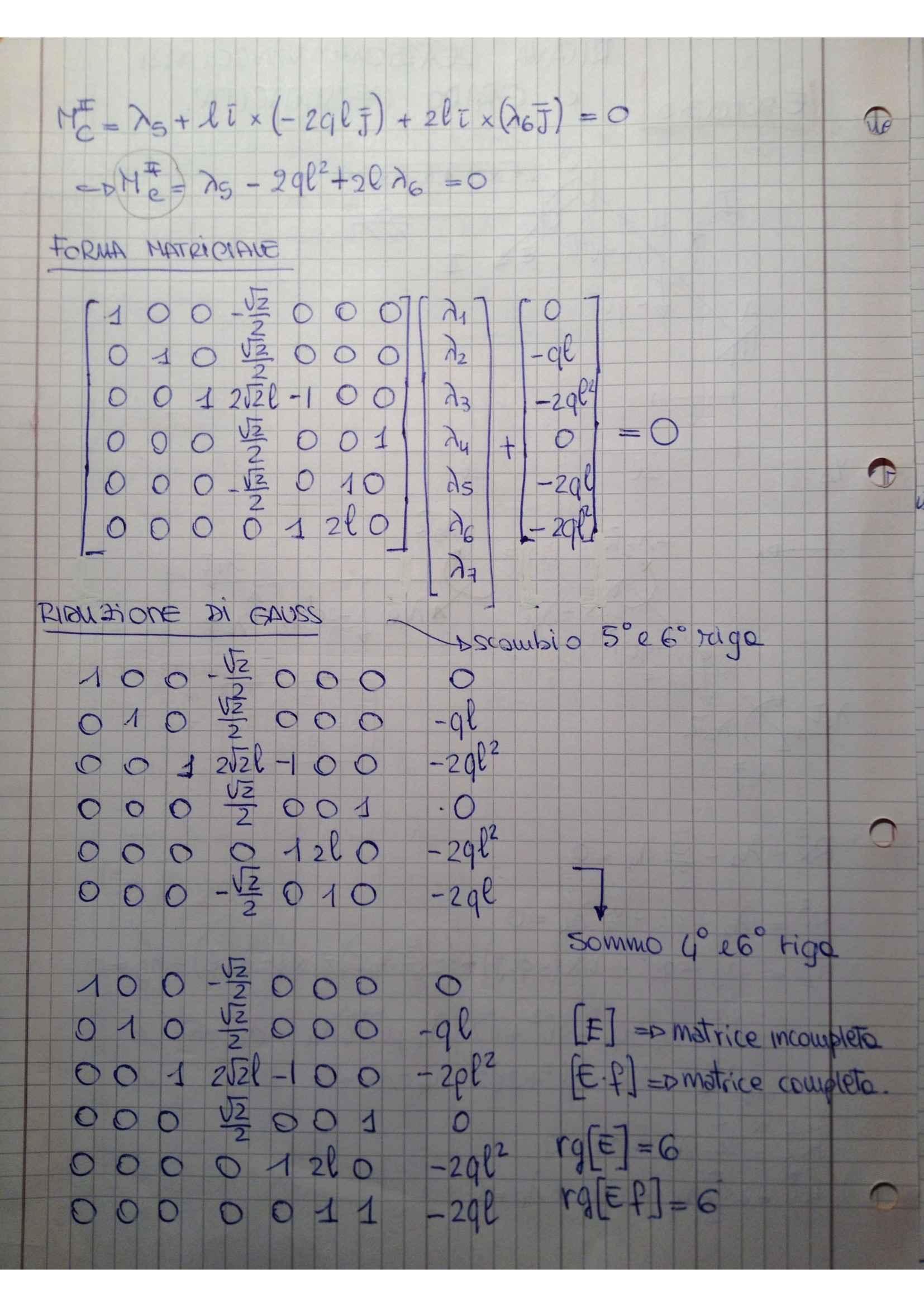 Meccanica dei solidi - esercizi su reazioni vincolari ed Iperstaticità Pag. 2