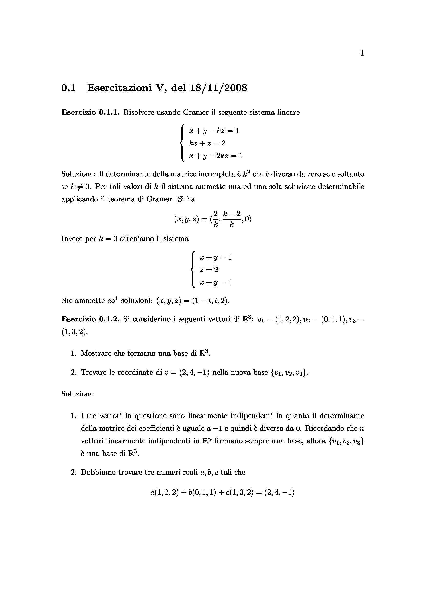 Matematica Generale - Cramer, vettori, limiti