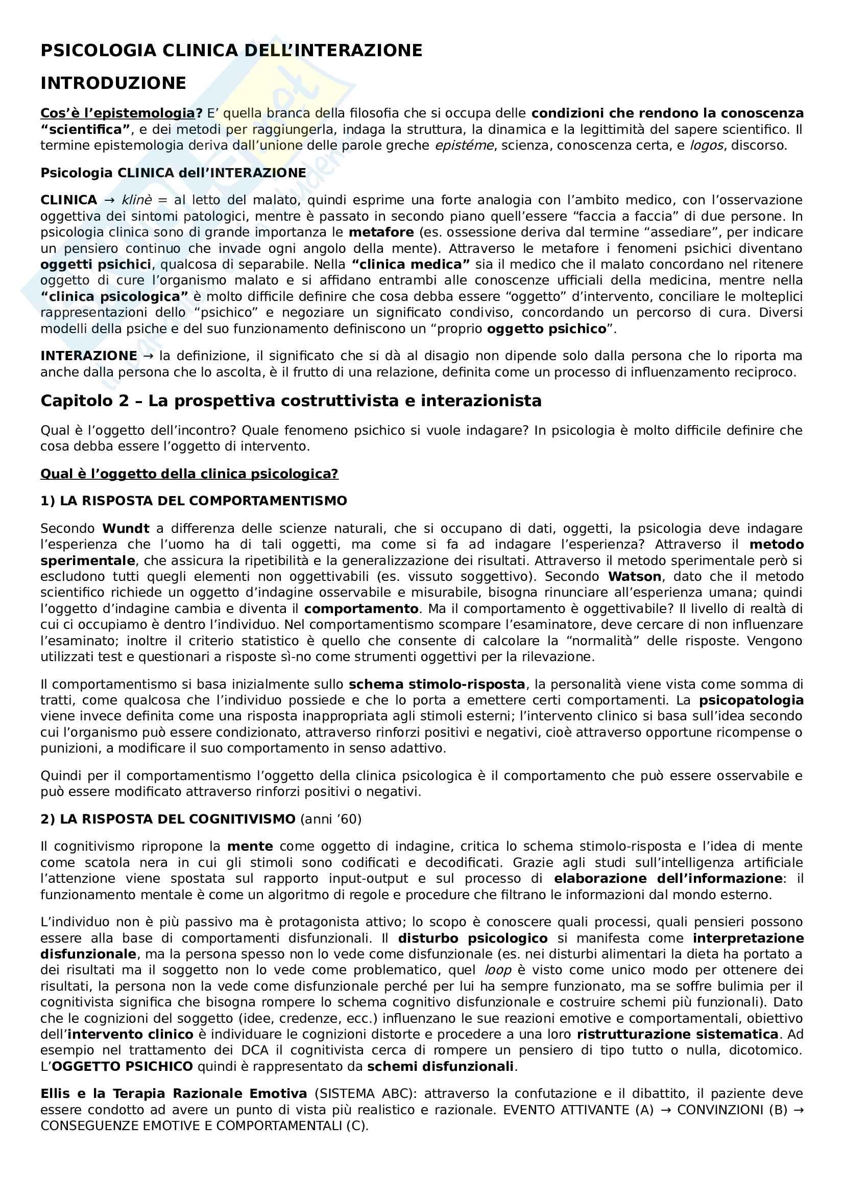Riassunto esame Psicologia Clinica dell'Interazione, prof.ssa Faccio