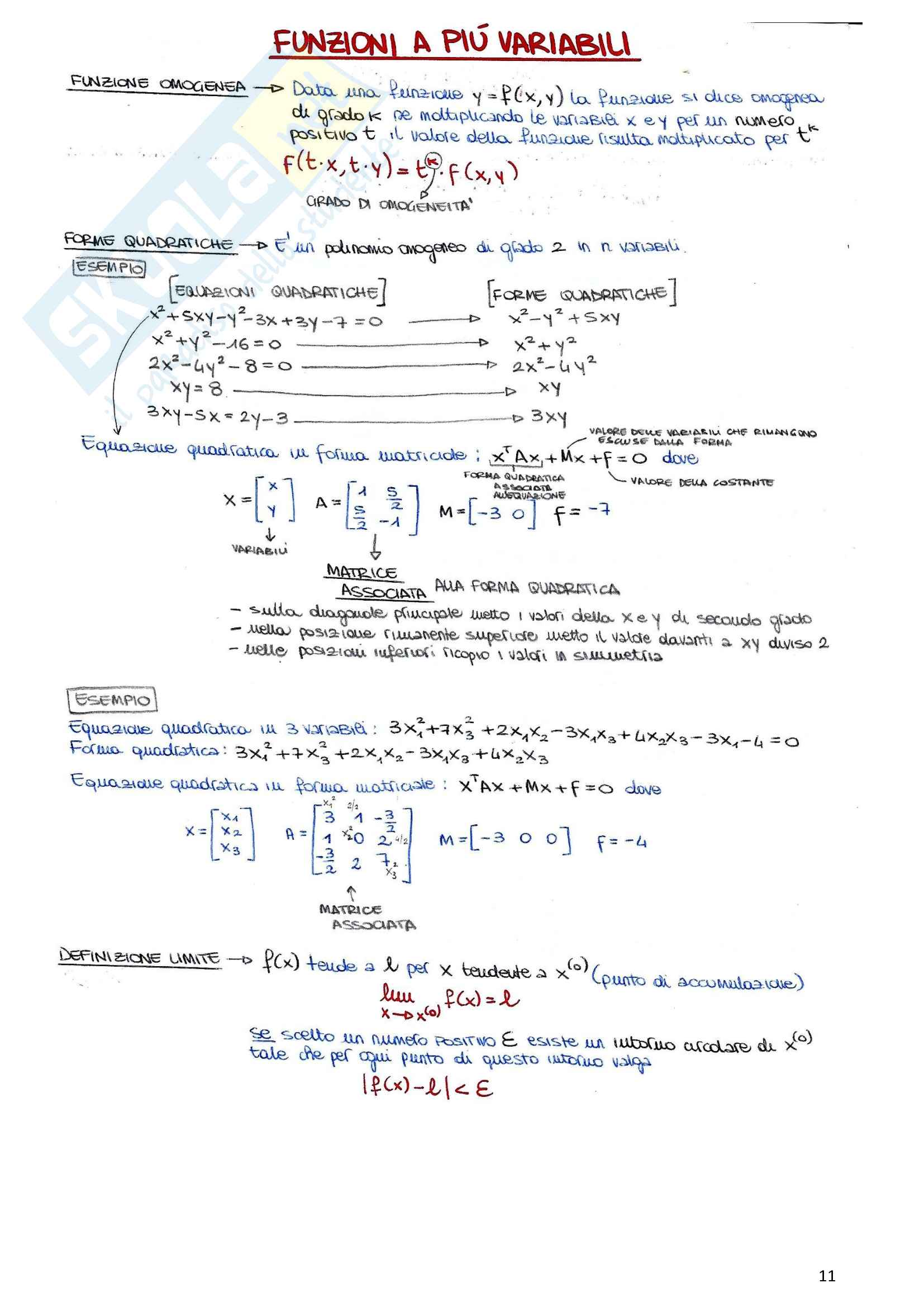 Riassunto esame Elementi di matematica (integrali, matrici, sistemi lineari, funzioni a più variabili), prof. Ortobelli, libro consigliato Manuale modulare di metodi matematici, Allevi Pag. 11
