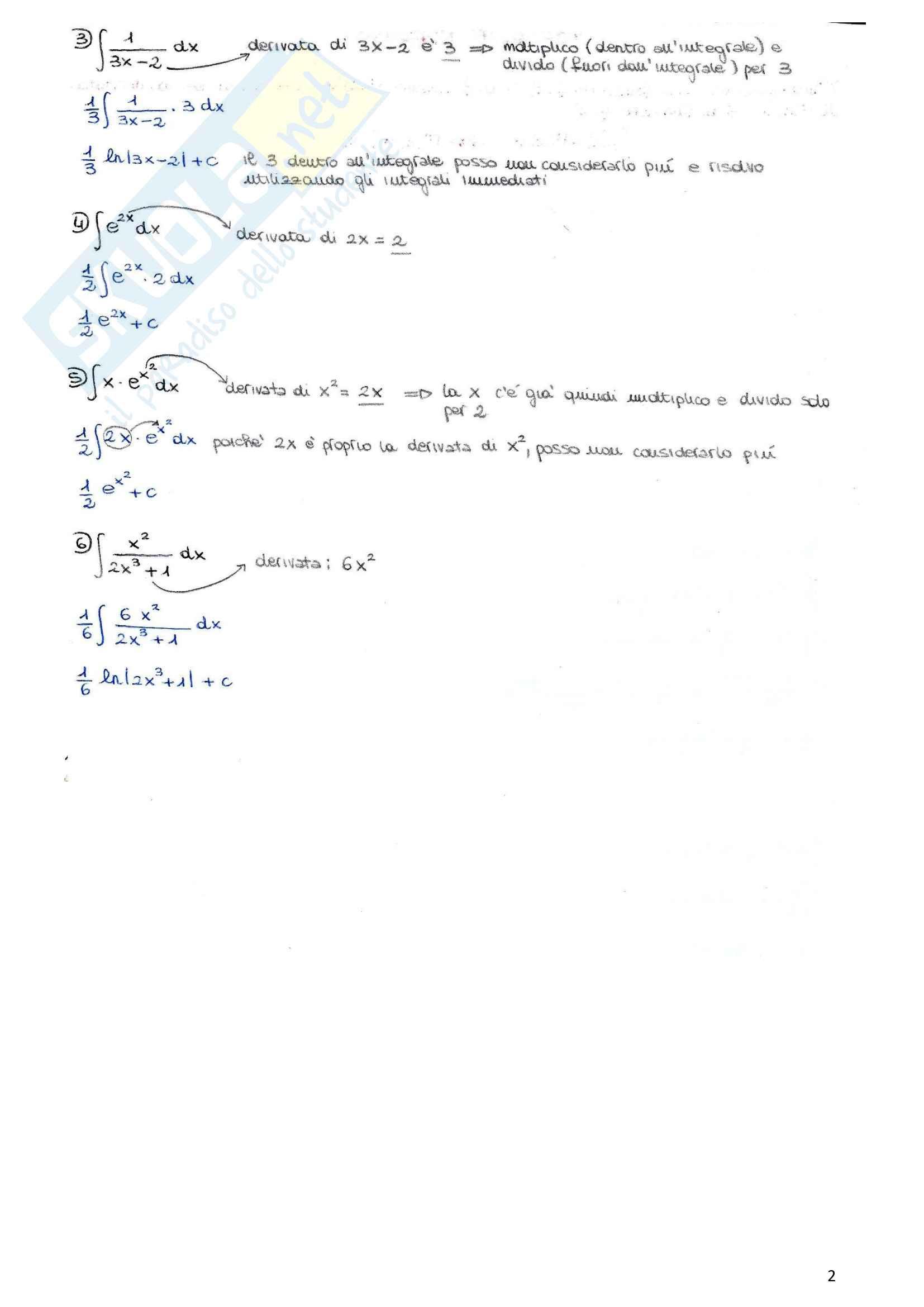 Riassunto esame Elementi di matematica (integrali, matrici, sistemi lineari, funzioni a più variabili), prof. Ortobelli, libro consigliato Manuale modulare di metodi matematici, Allevi Pag. 2