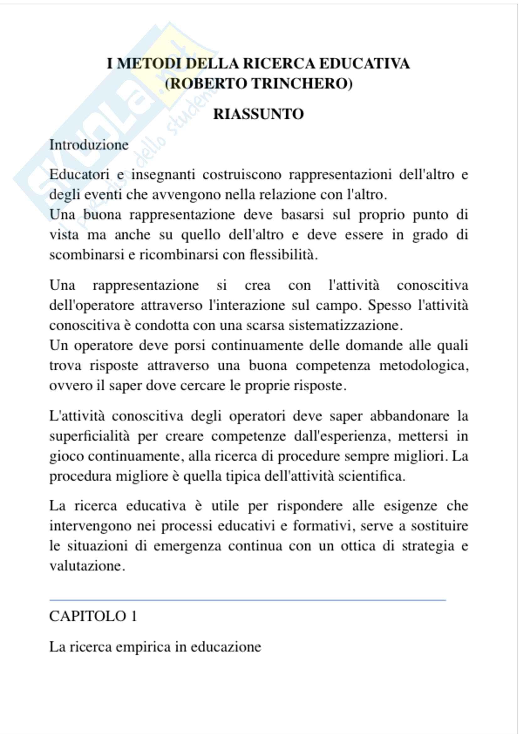 Riassunto pedagogia sperimentale, prof. Fornasari, libro consigliato I metodi della ricerca educativa, Trinchero