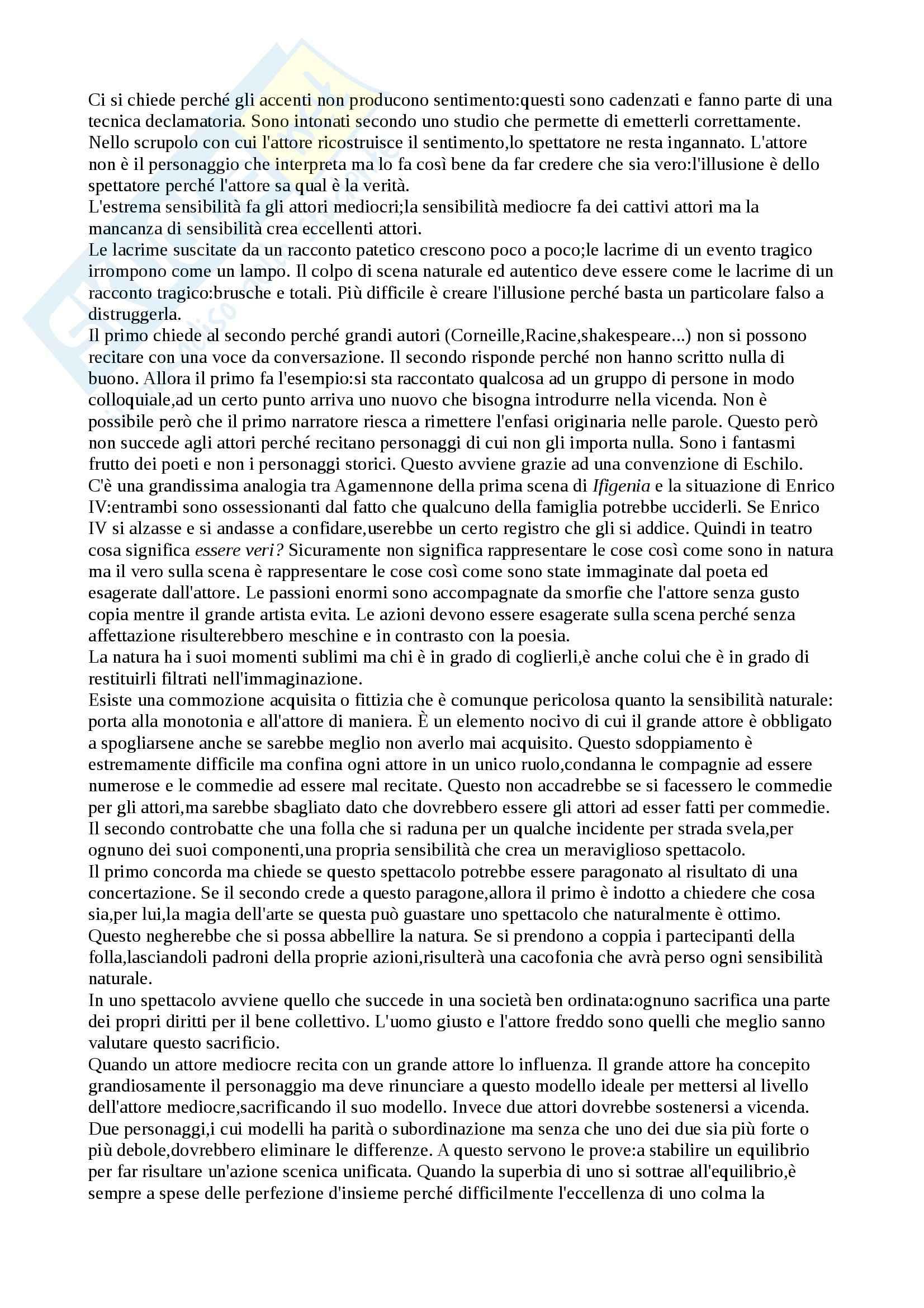 Riassunto esame Istituzioni di regia, prof. Sciaccaluga, libro consigliato Paradosso sull'attore di Diderot Pag. 2