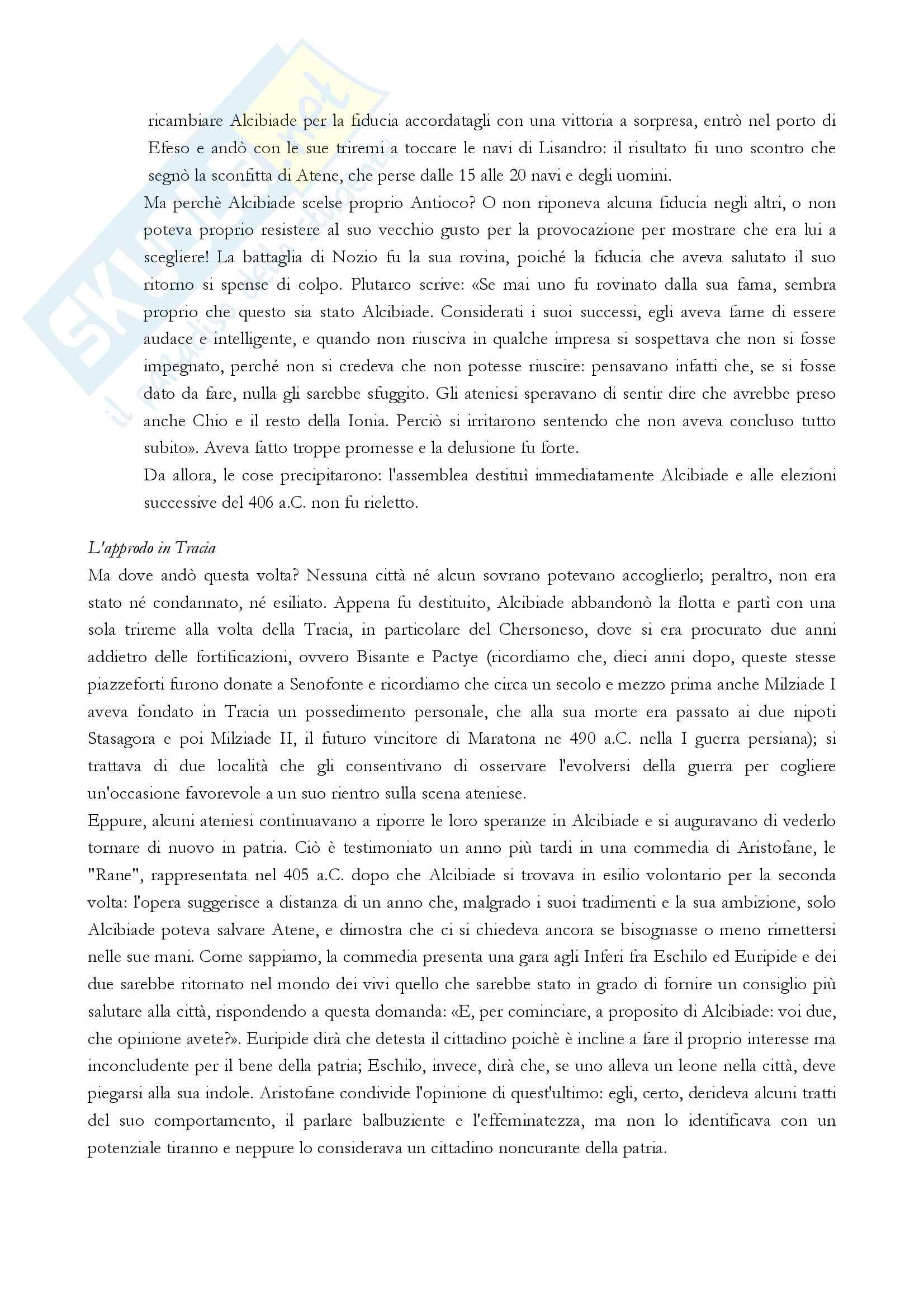 """Riassunto esame storia greca, Prof.ssa Prandi, libro consigliato """"Alcibiade. Un avventuriero in una democrazia in crisi"""" (J. De Romilly) Pag. 31"""