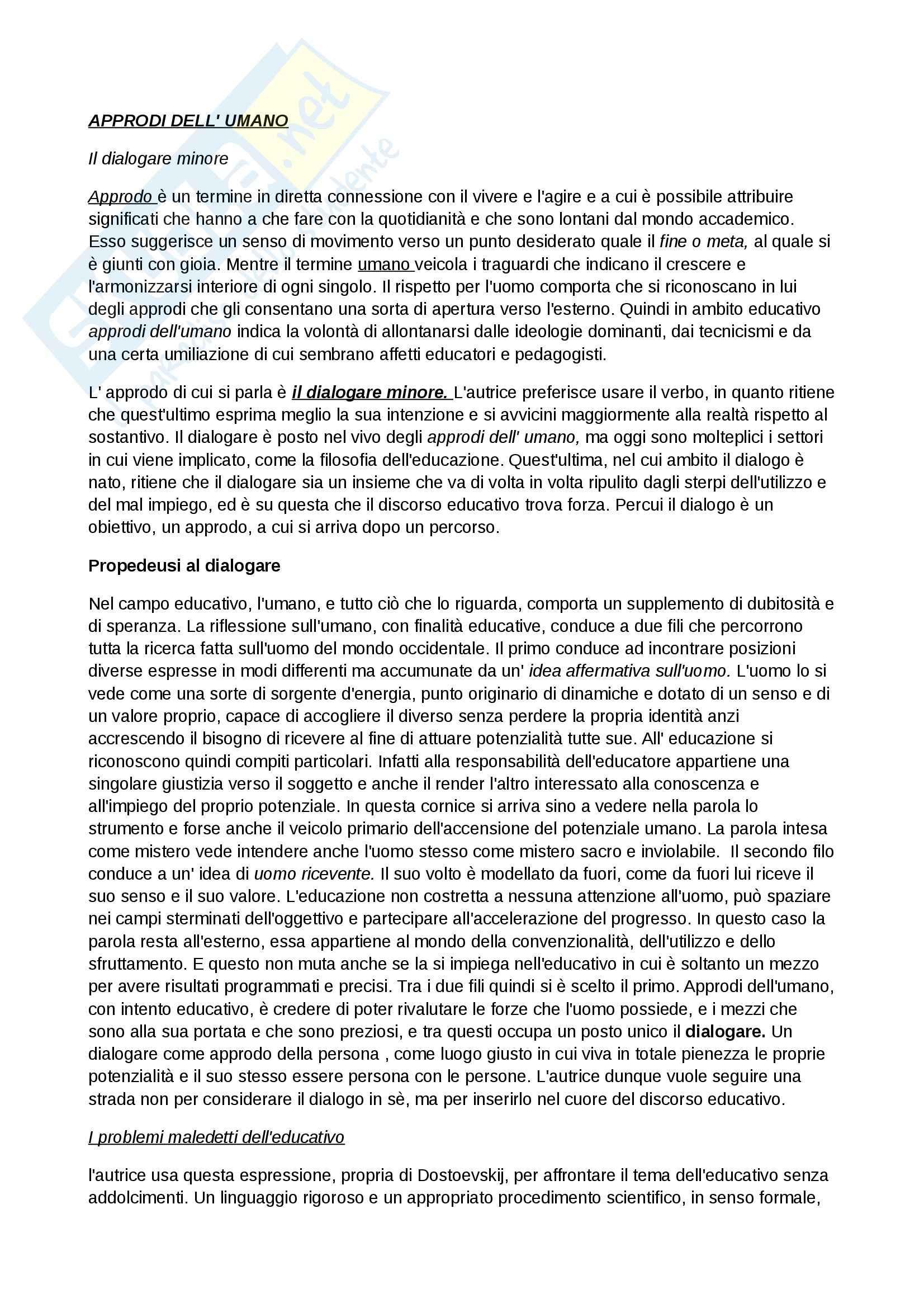 Riassunto esame Pedagogia, prof. D'Arcangeli, libro consigliato Approdi dell'umano, Ducci