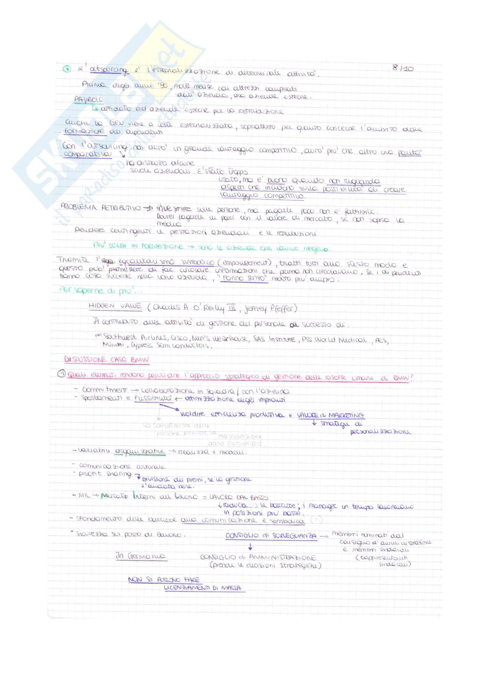 Appunti di Organizzazione e gestione delle risorse umane Pag. 6