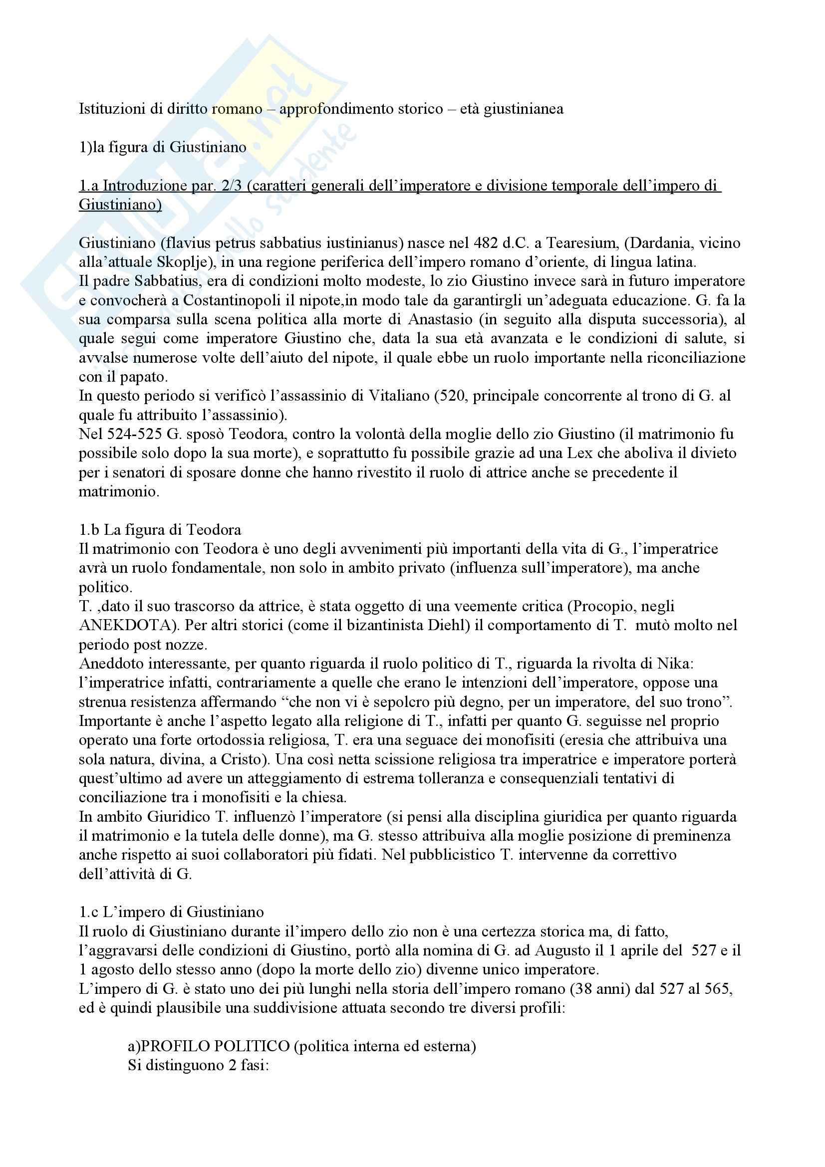 Riassunto esame Diritto Romano, prof. Luchetti, libro consigliato Introduzione allo Studio dell'Età Giustinianea, Bonini