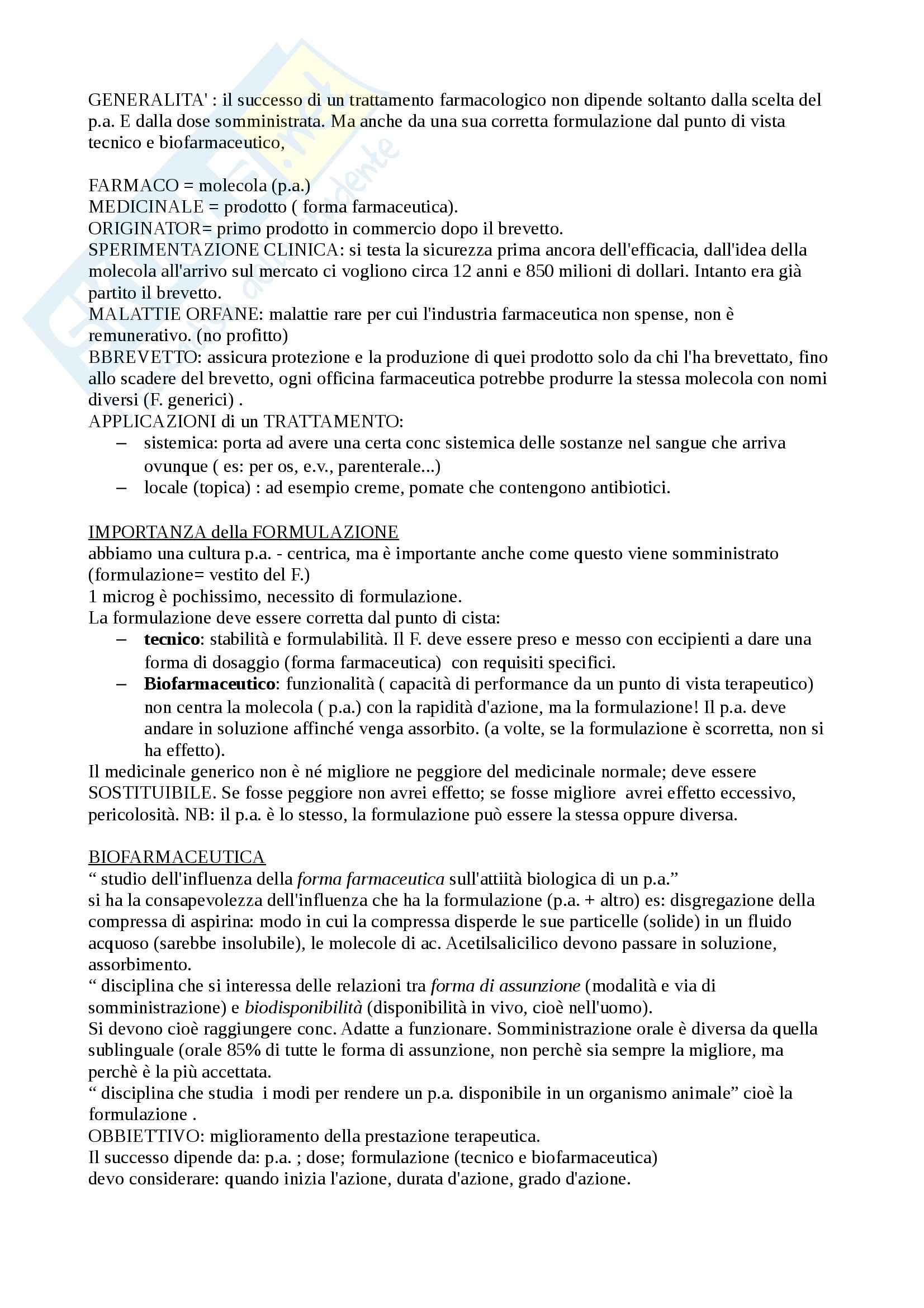 Tecniche farmaceutiche - Appunti
