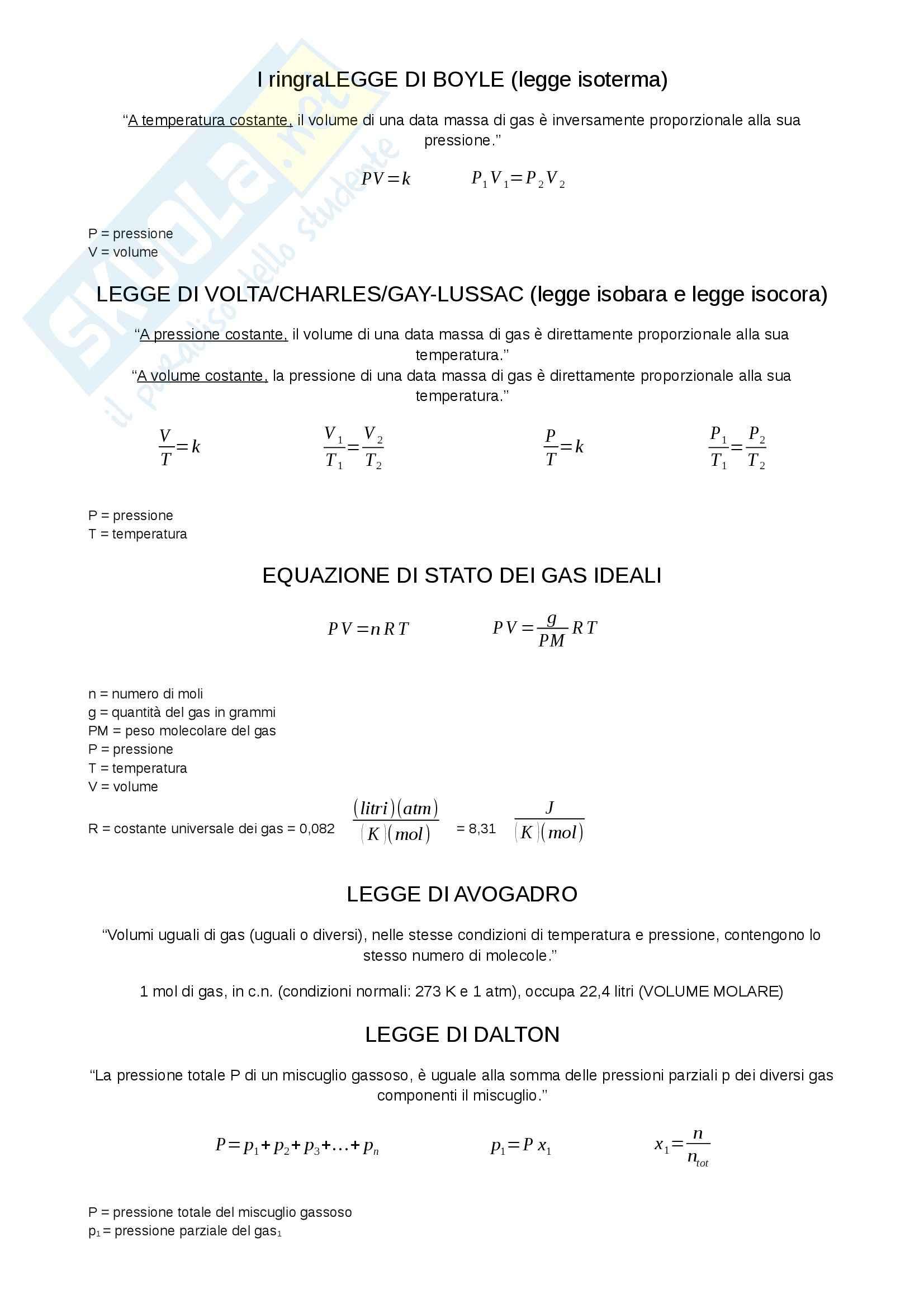 Formulario, Chimica