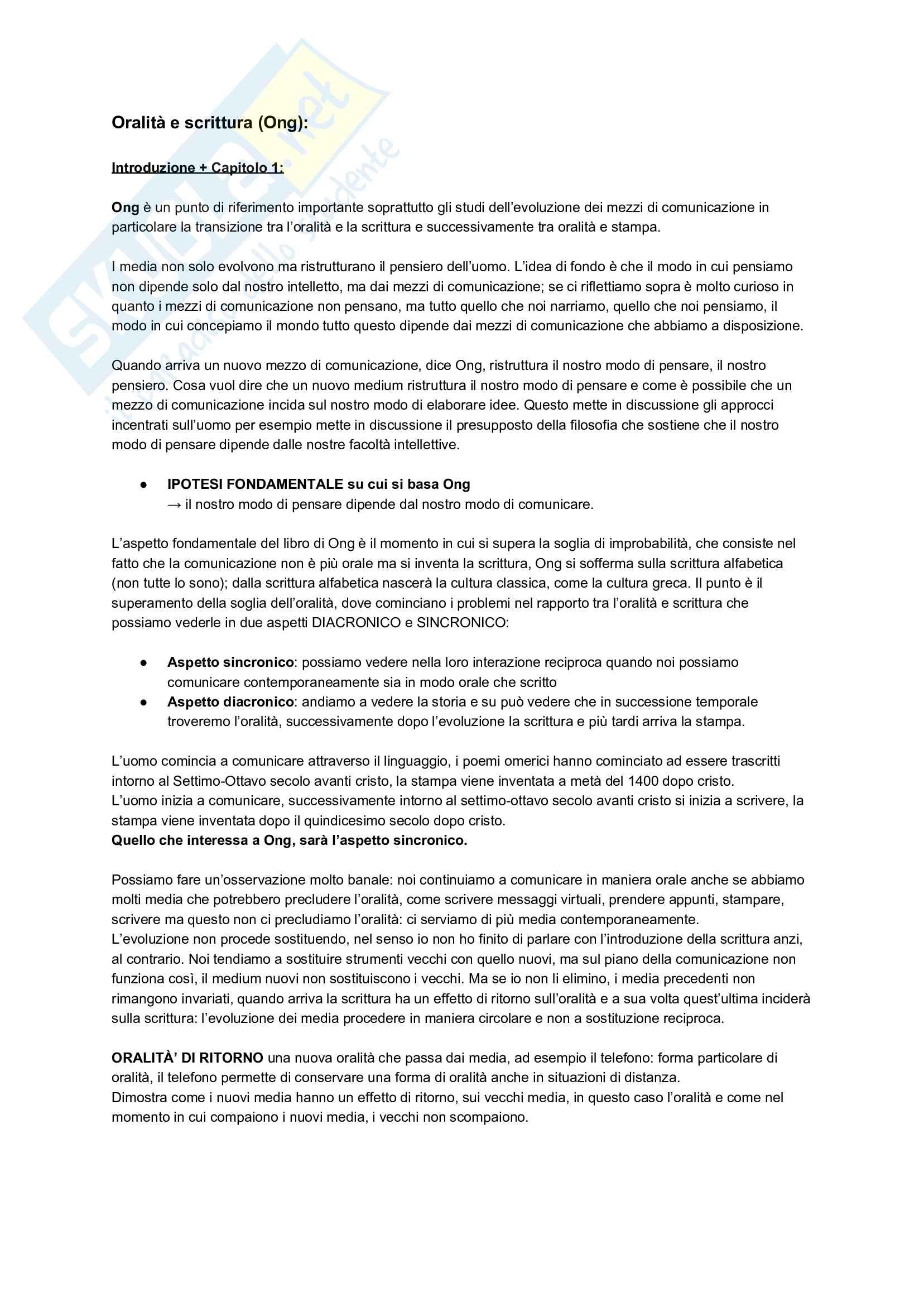 Appunti - Sociologia della Comunicazione (Libro consigliato: Oralità e Scrittura, W.J. Ong)