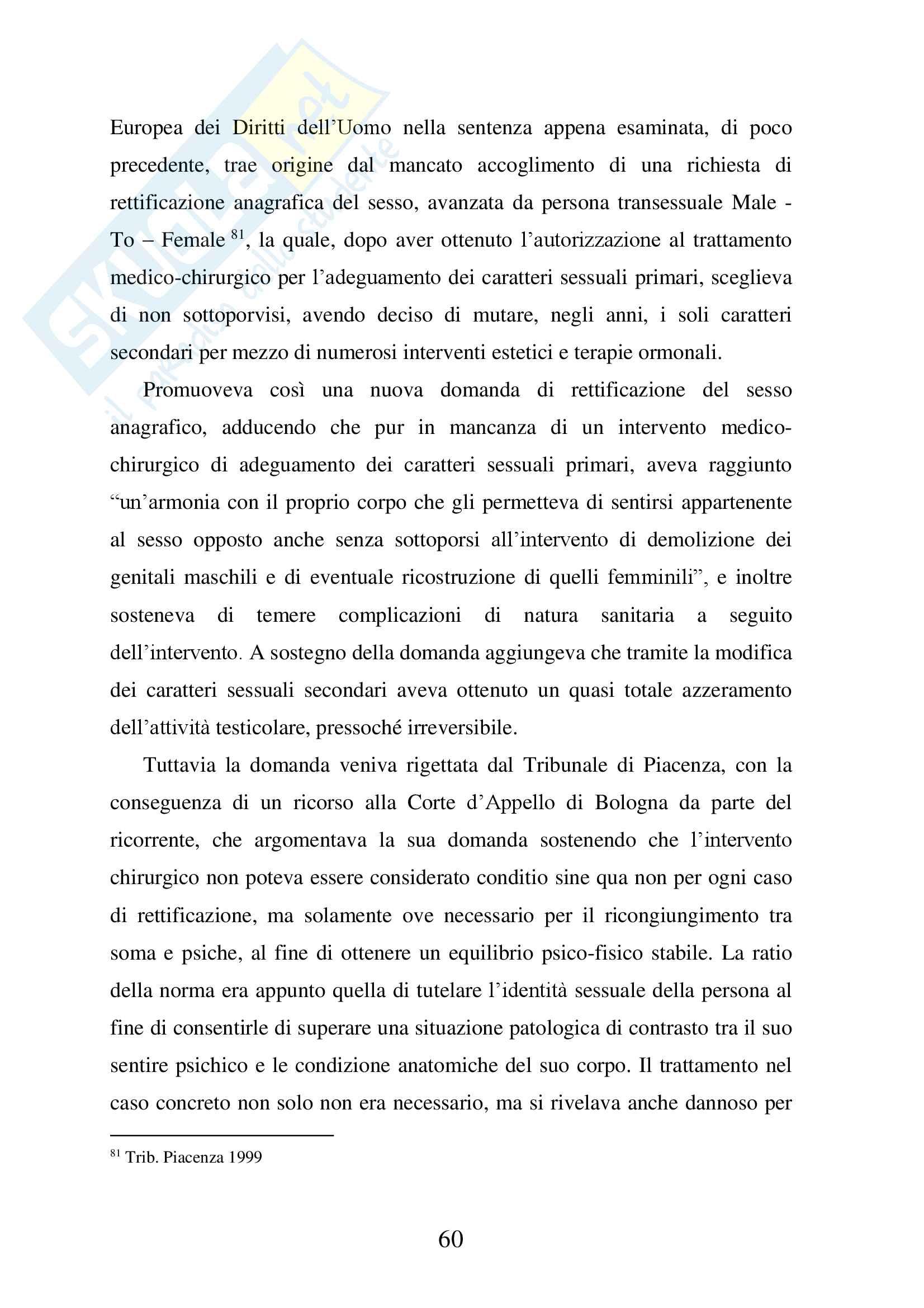Tesi Specialistica sulla Disciplina giuridica del mutamento di sesso Pag. 61