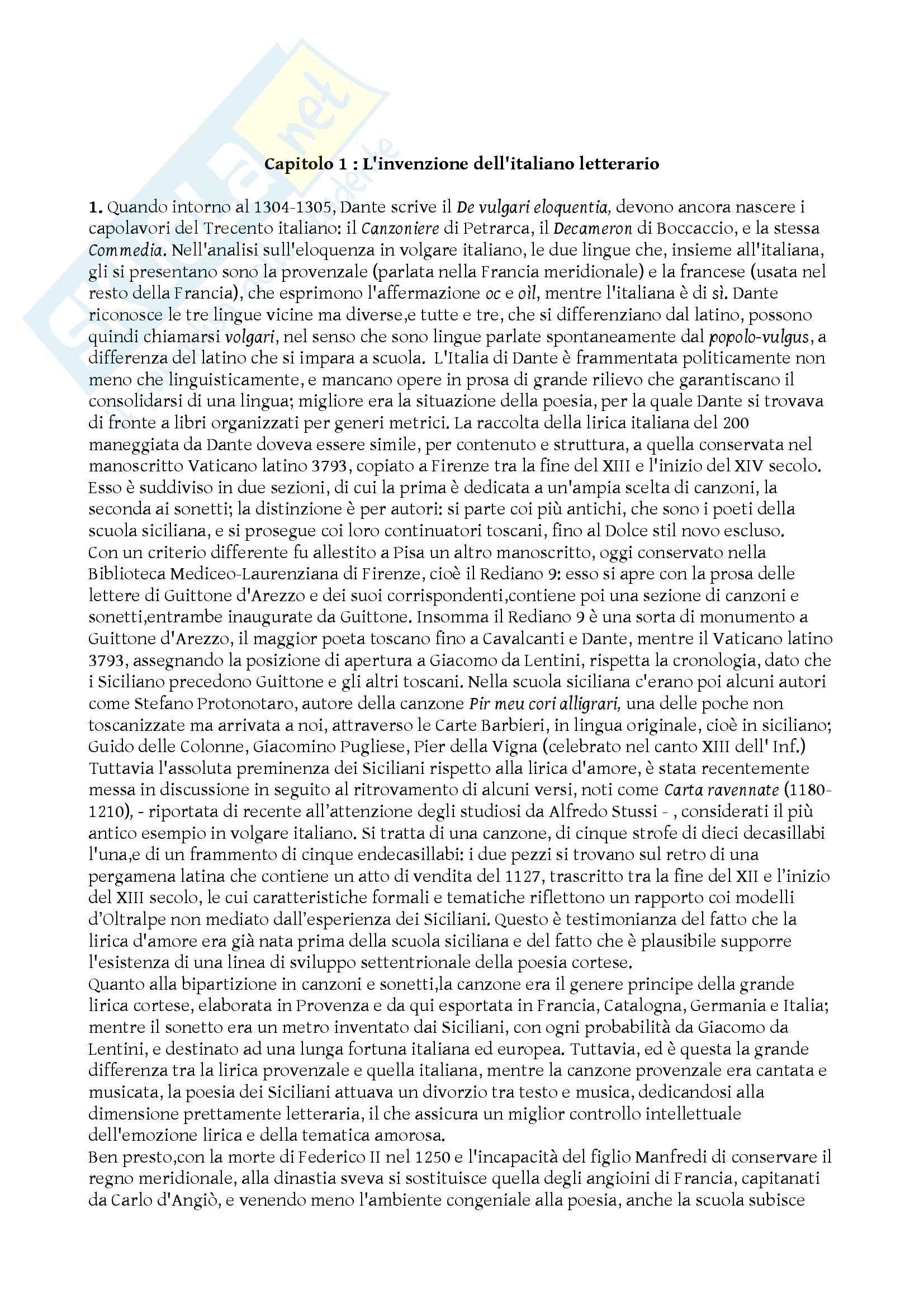 Riassunto esame Storia della lingua italiana, prof. De Blasi, libro consigliato L'italiano letterario nella storia, Bruni