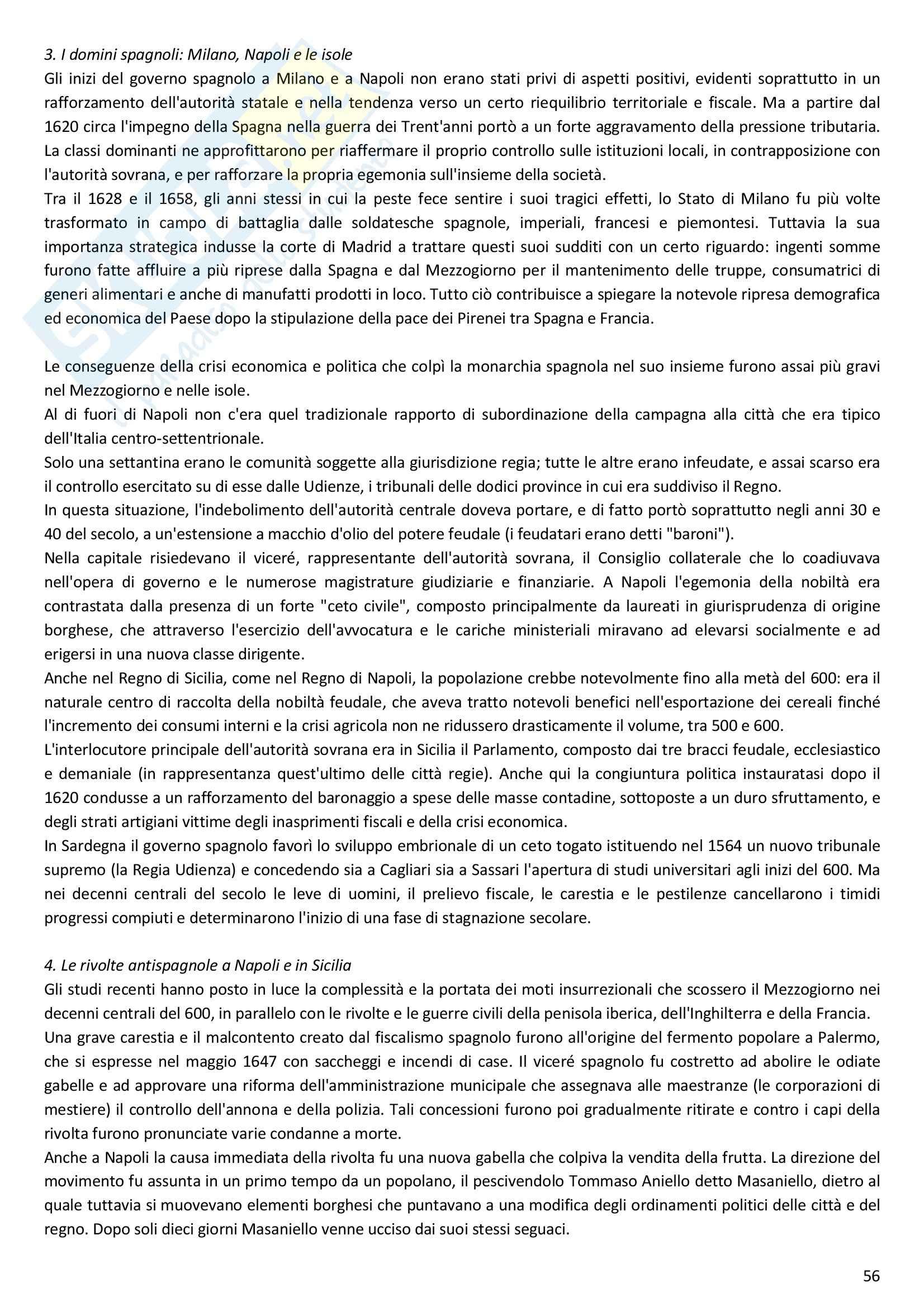 Riassunto esame Storia moderna, prof. Melani, libro consigliato Storia moderna (1492 1848), Capra Pag. 56