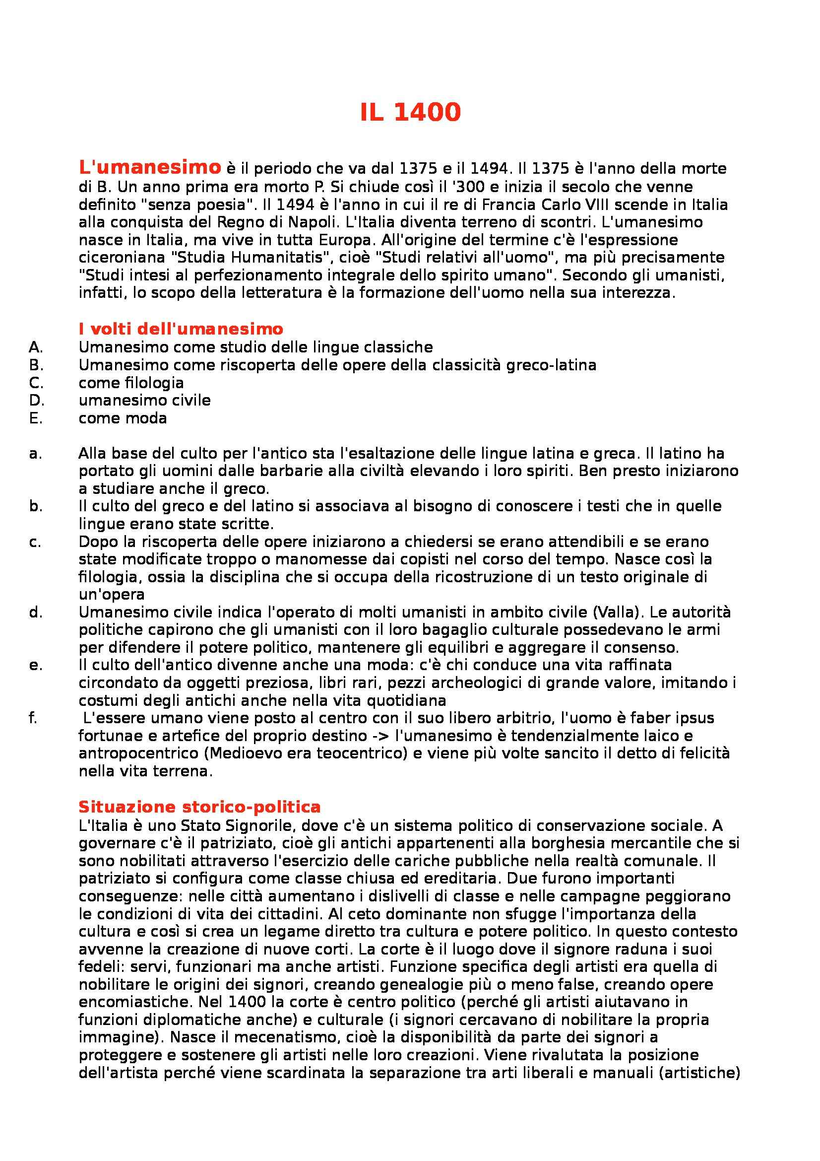 Riassunto esame Letteratura Italiana, prof. Gentili, libro consigliato Manuale di Letteratura Italiana Medievale e Moderna, Casadei
