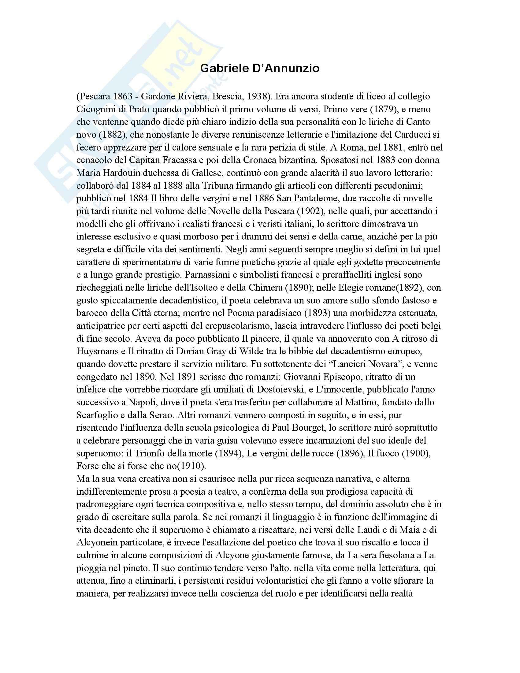 Gabriele D'Annunzio - vita e opere - Appunti