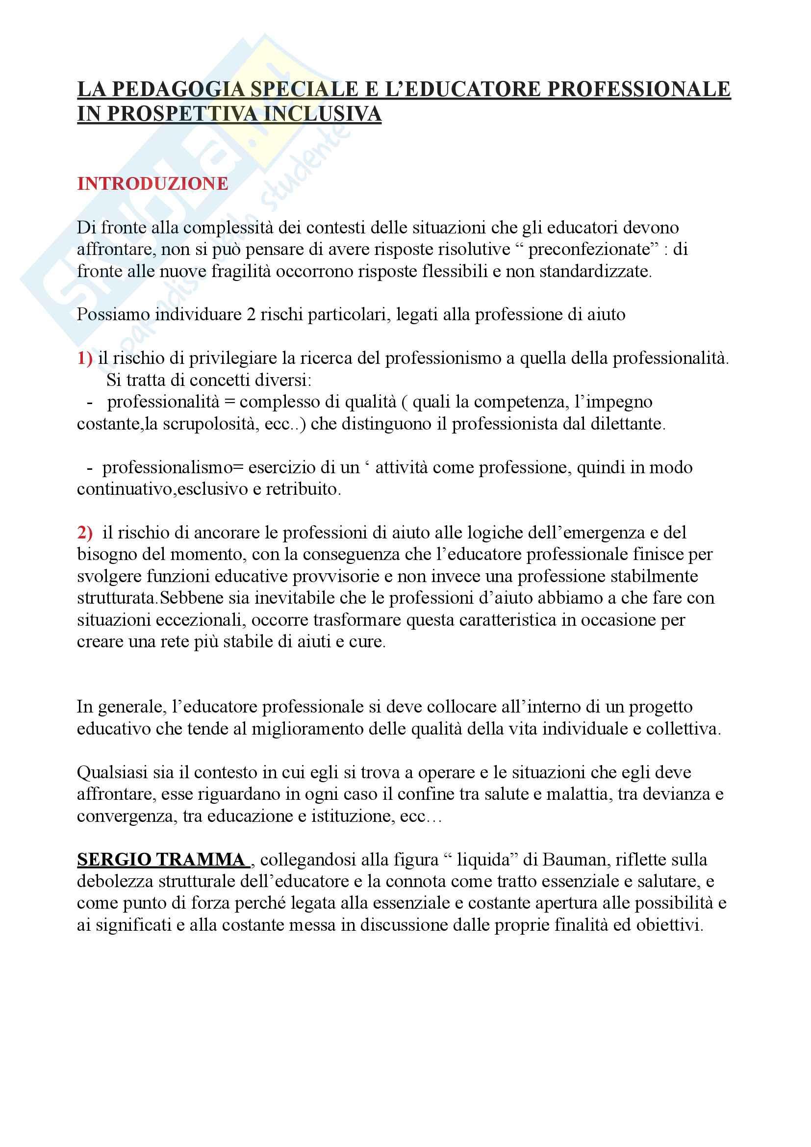 """Riassunto esame pedagogia speciale, prof. Patrizia Gaspari, libro consigliato """"La pedagogia speciale e l'educatore in prospettiva inclusiva,P. Gaspari"""