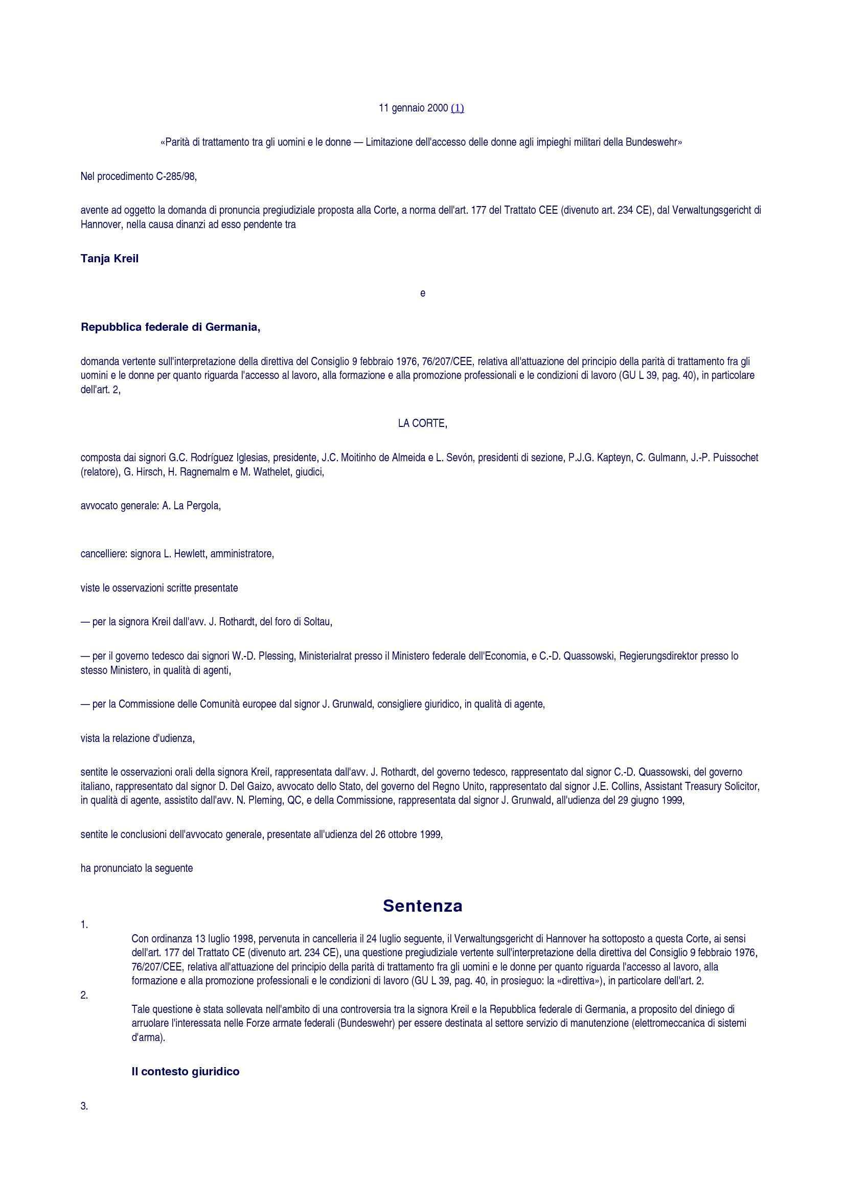 Pari opportunità - C. Giust. UE C-285/98