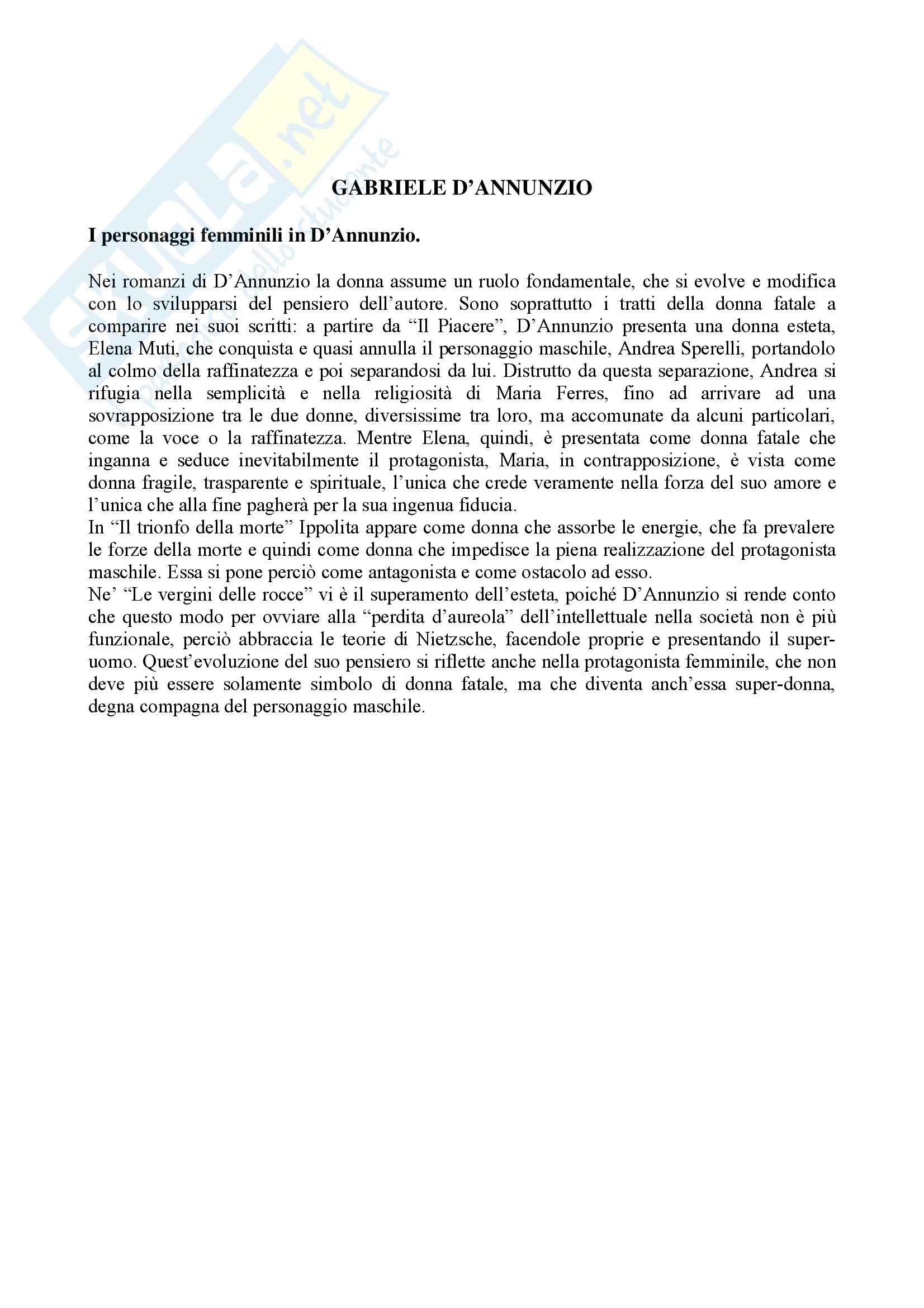 Letteratura italiana - personaggi femminili in D'Annunzio - Saggio