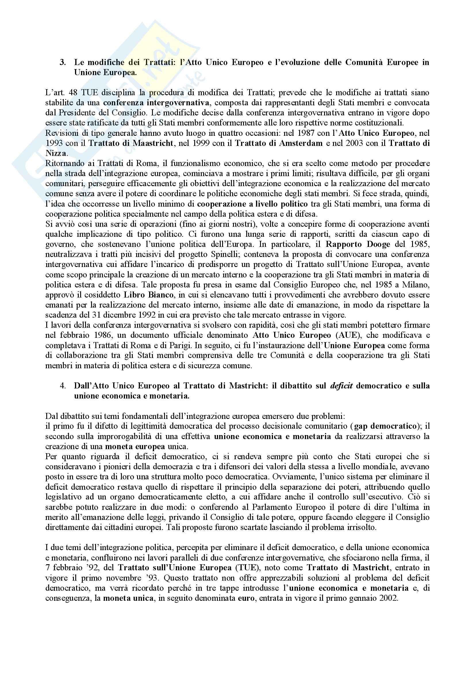 Riassunto esame Diritto dell'Unione Europea, prof. Parisi, libro consigliato Diritto dell'Unione Europea, Draetta Pag. 2