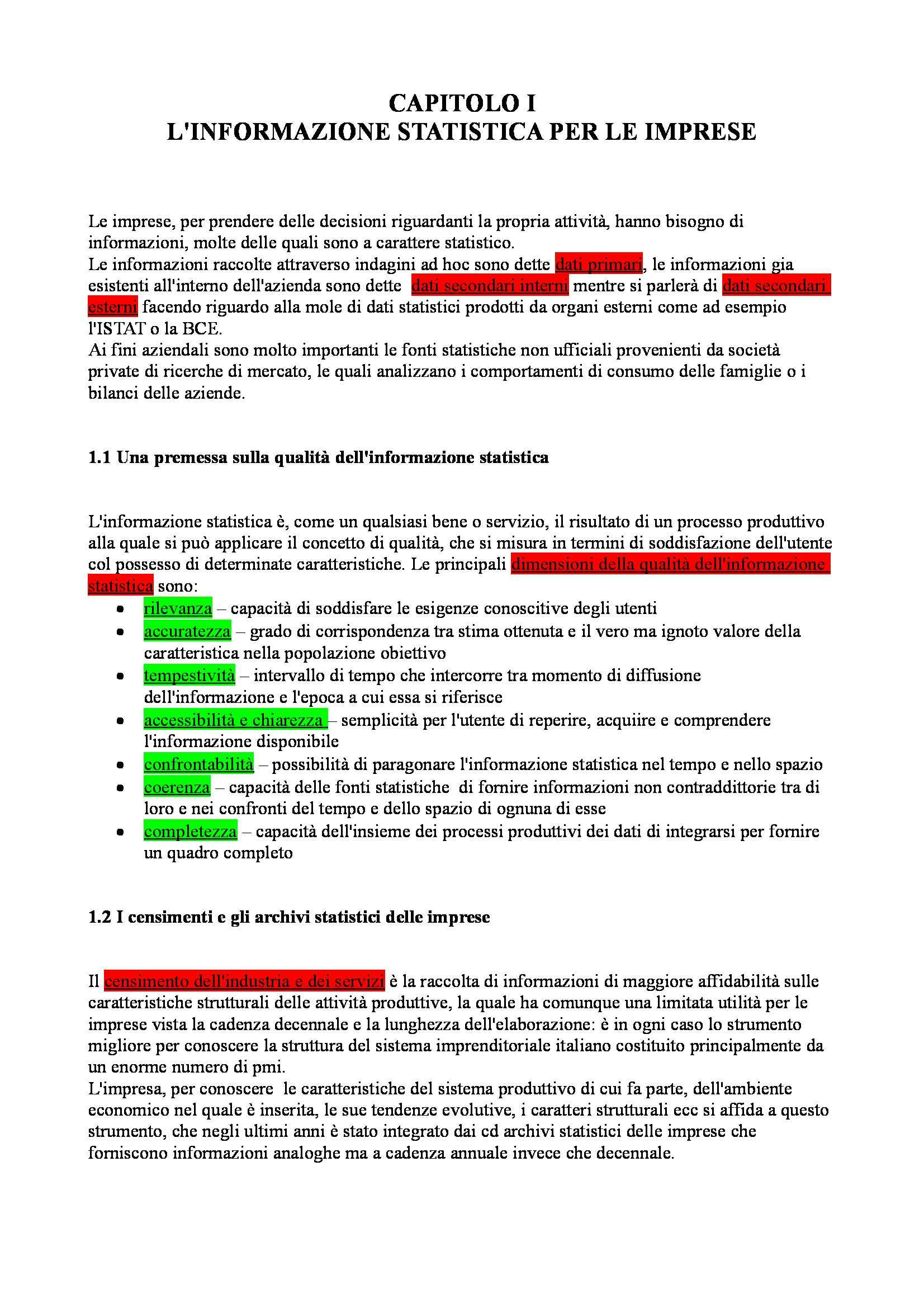 Riassunto esame Statistica aziendale, prof. Gonano, libro consigliato Statistica per le decisioni aziendali, Biggeri, Bini